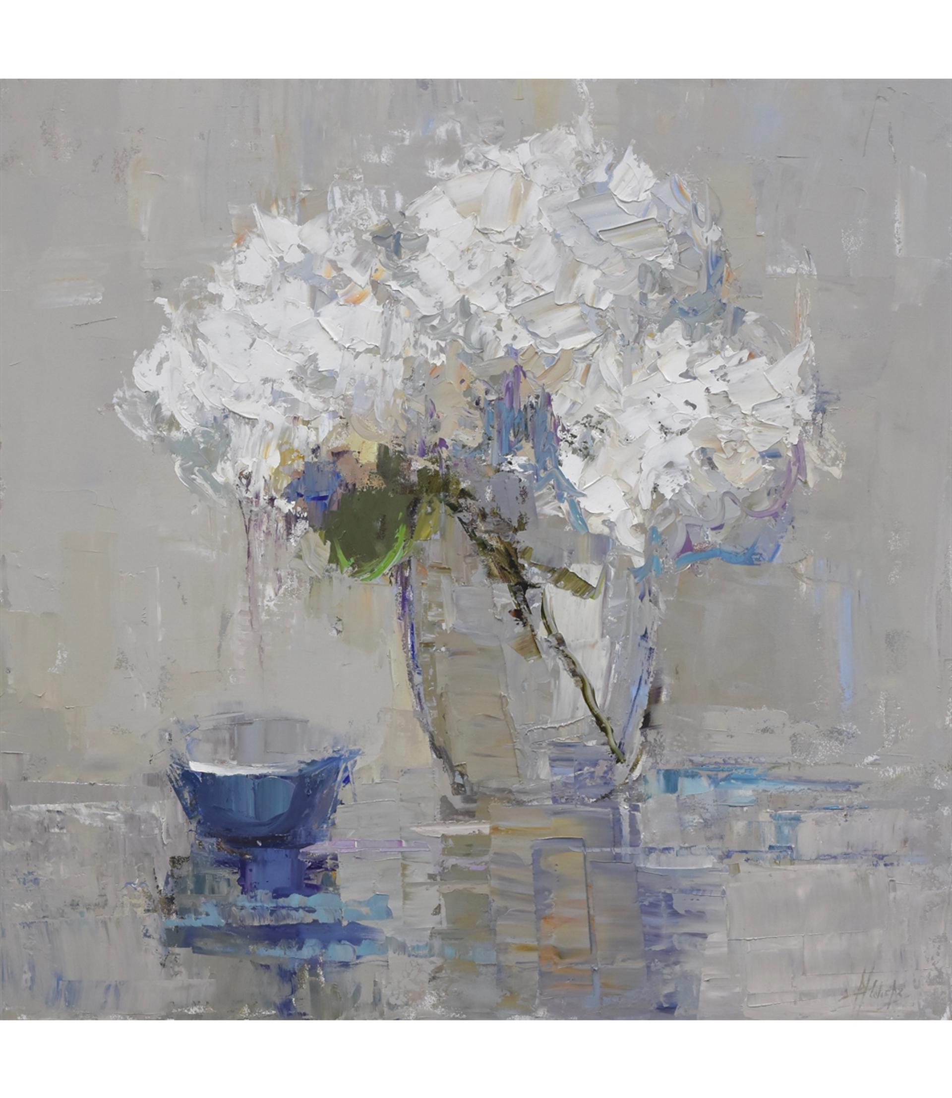 Blue Bowl and Hydrangeas by Barbara Flowers