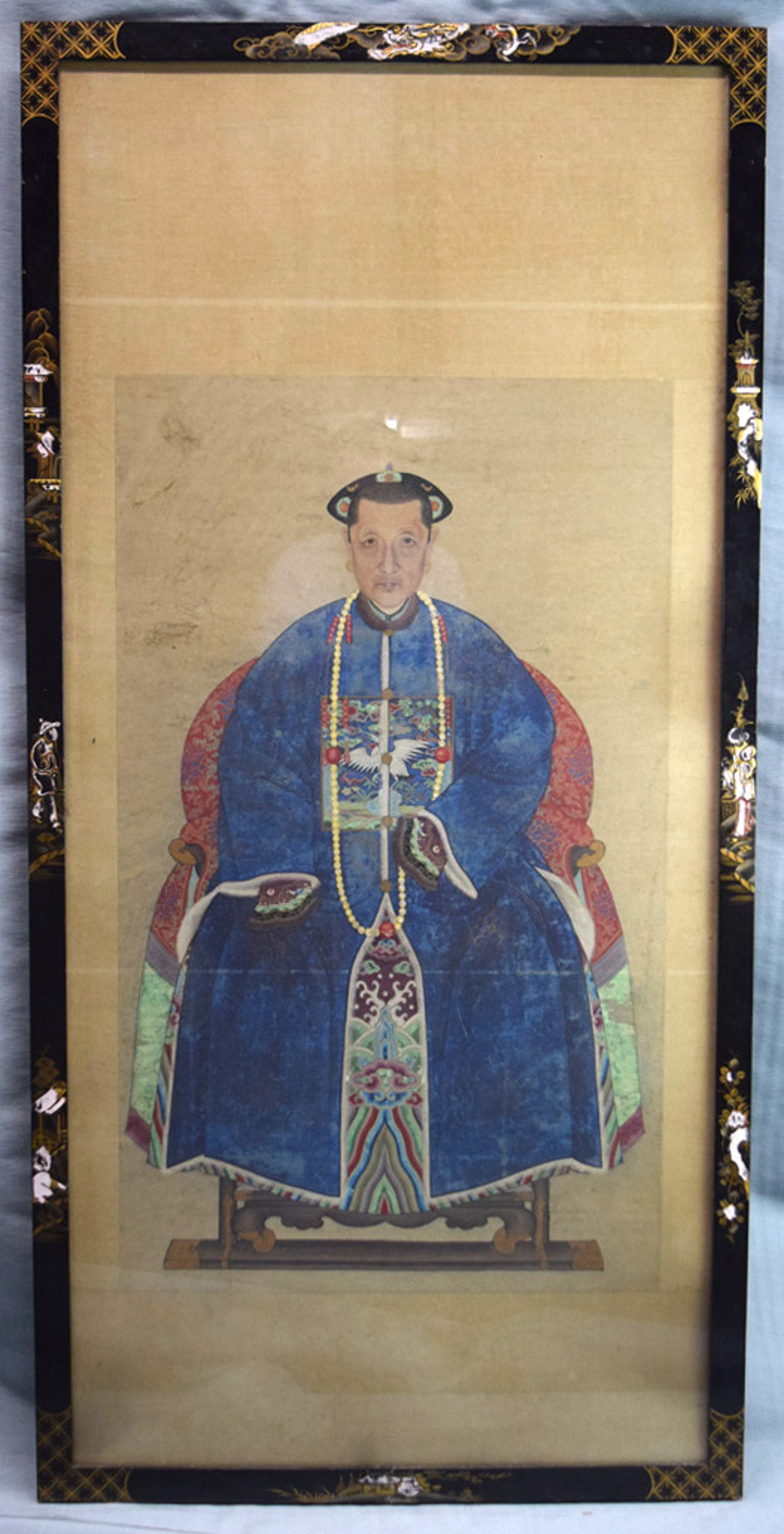 PAIR OF CHINESE ANCESTRAL PORTRAITS, SEATED OFFICIAL AND HIS WIFE