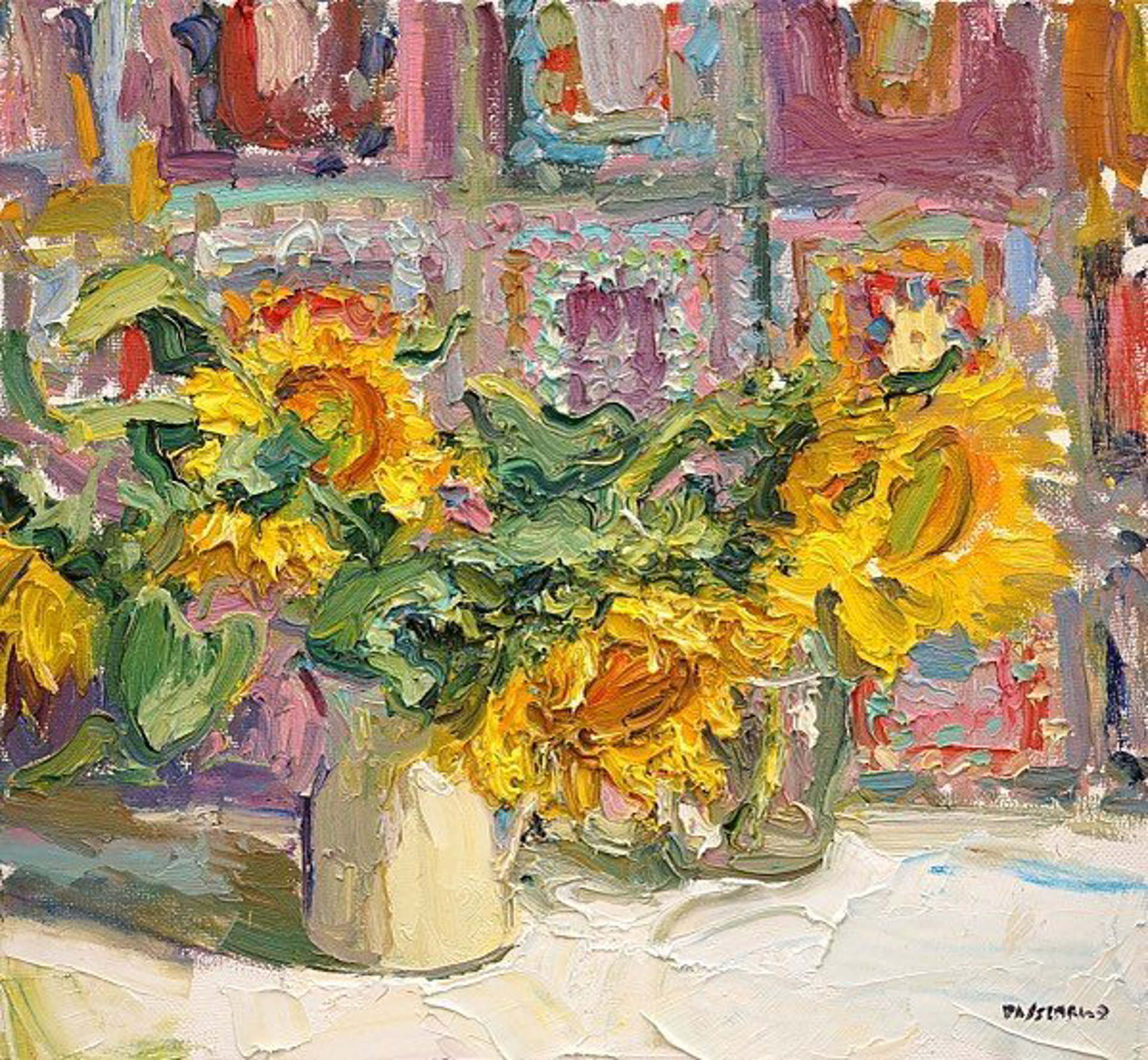 Sunflowers with Quilt by Antonin Passemard