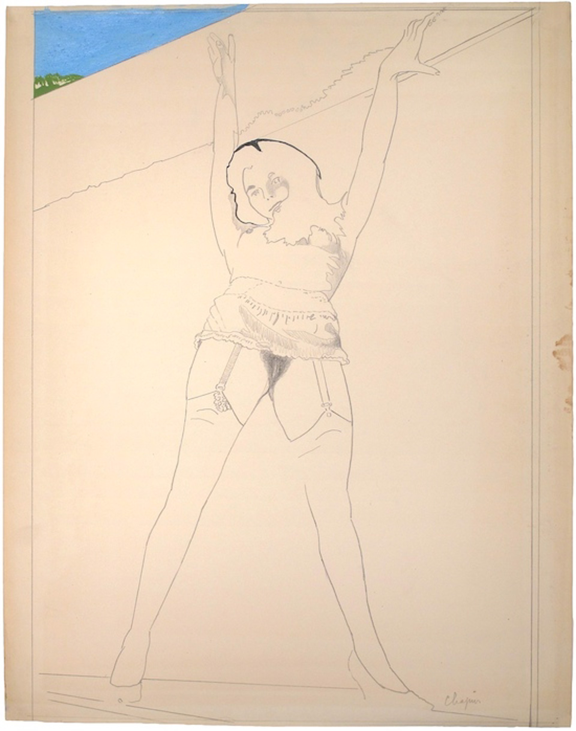 Nude, Arms Overhead with Stockings by David Chapin