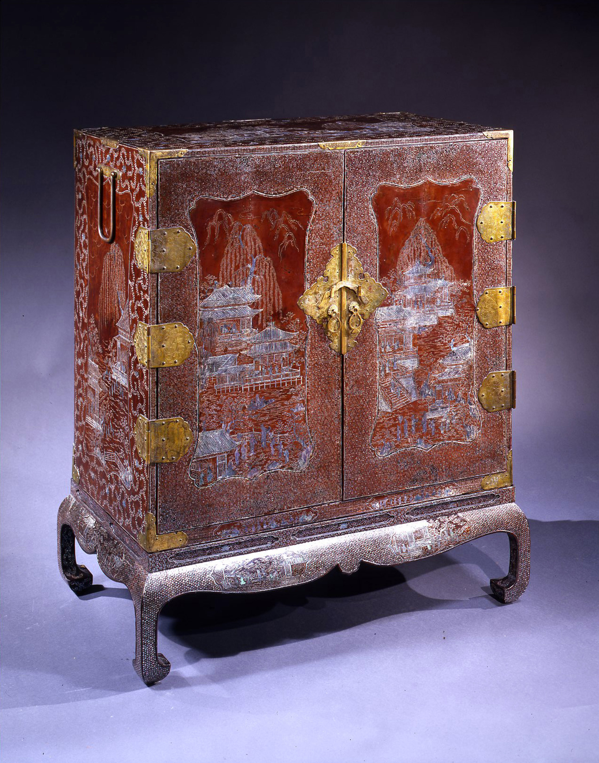 JAPANESE MOTHER OF PEARL INLAID CABINET ON STAND