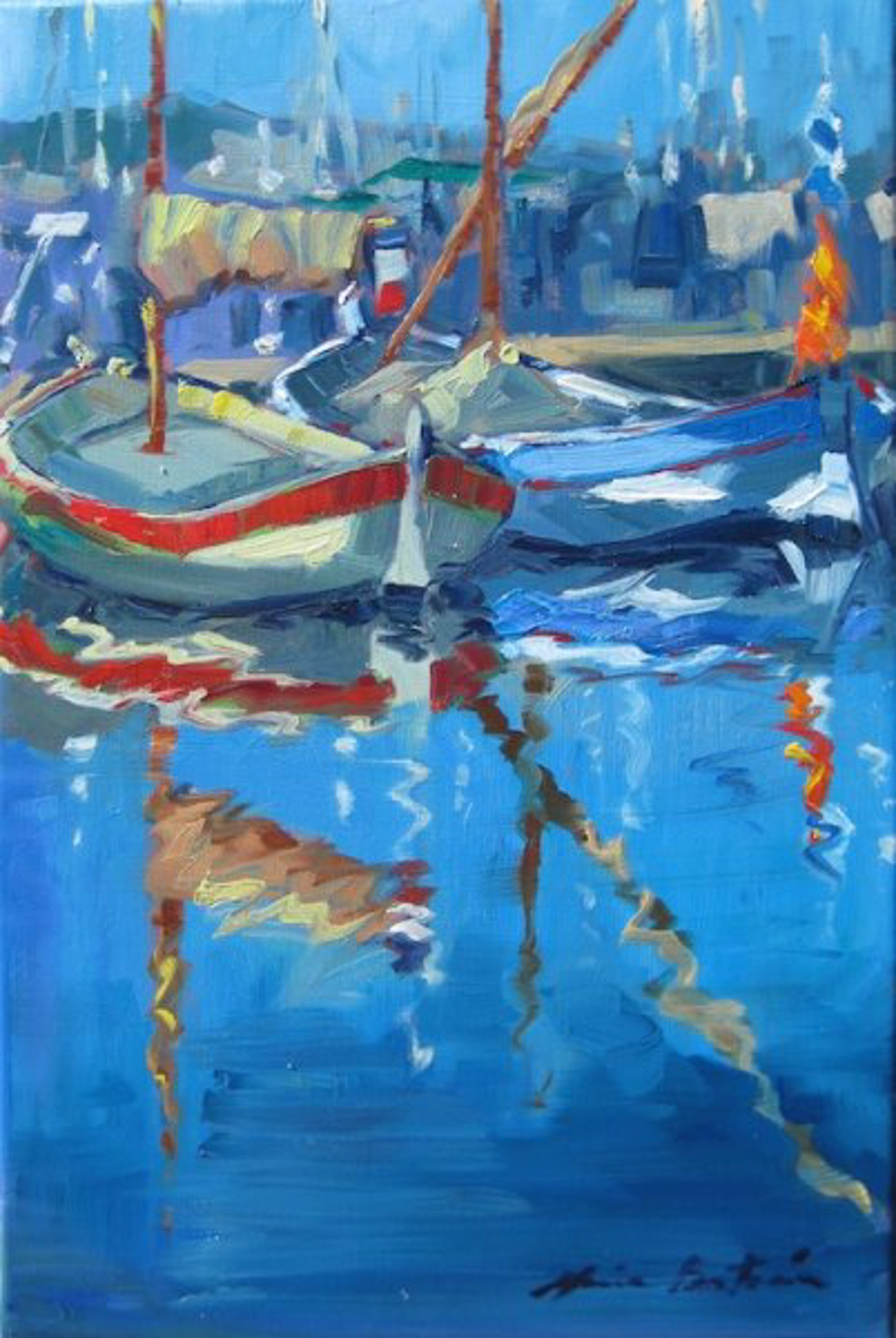 Reflections Of The Masts by Maria Bertrán
