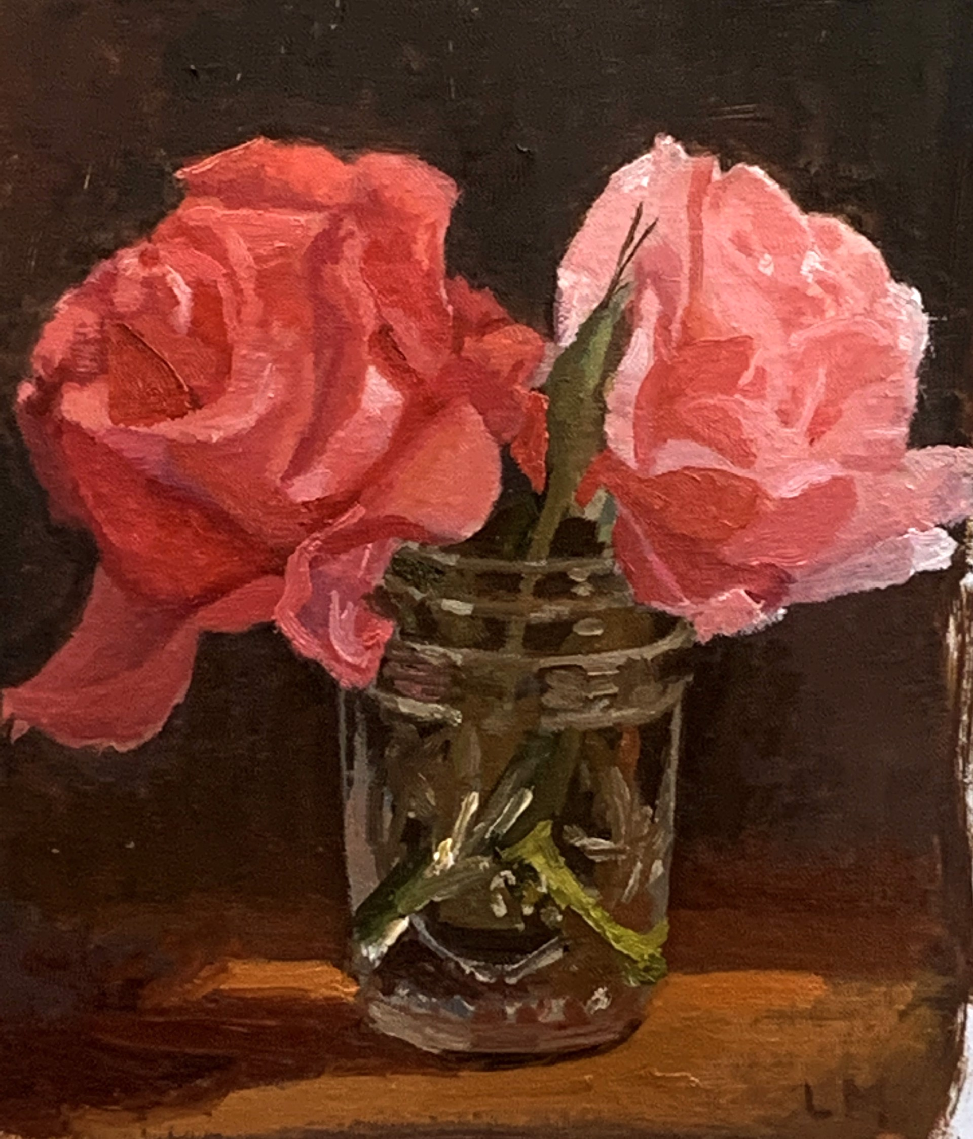 Two Pink Roses by Laura Murphey