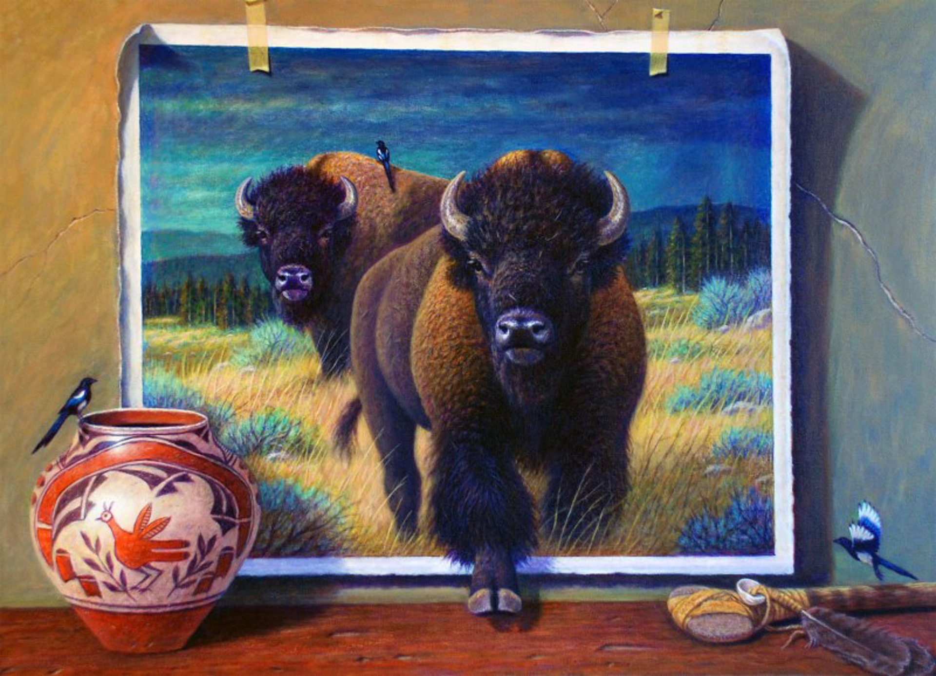 Buffalo and Magpies by Bo Newell