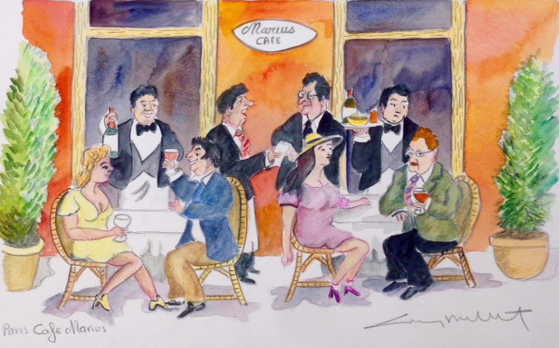 Paris Cafe Marius by Guy Buffet