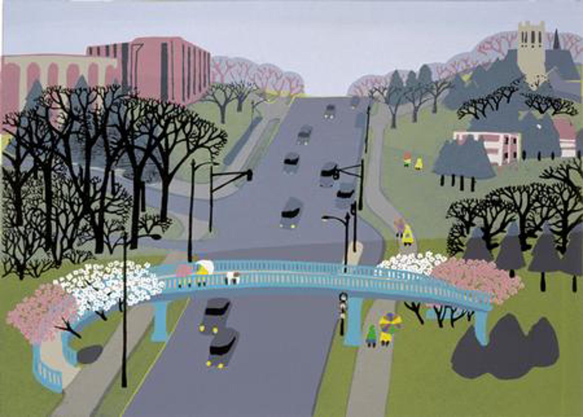 Spring Walk, Dodge Street Overpass by Judith Welk