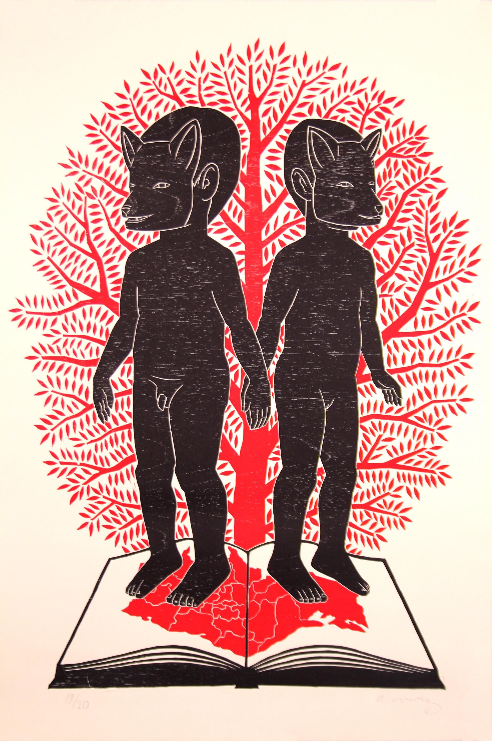 Niños con Libro Mapa Roja by Alberto Cruz