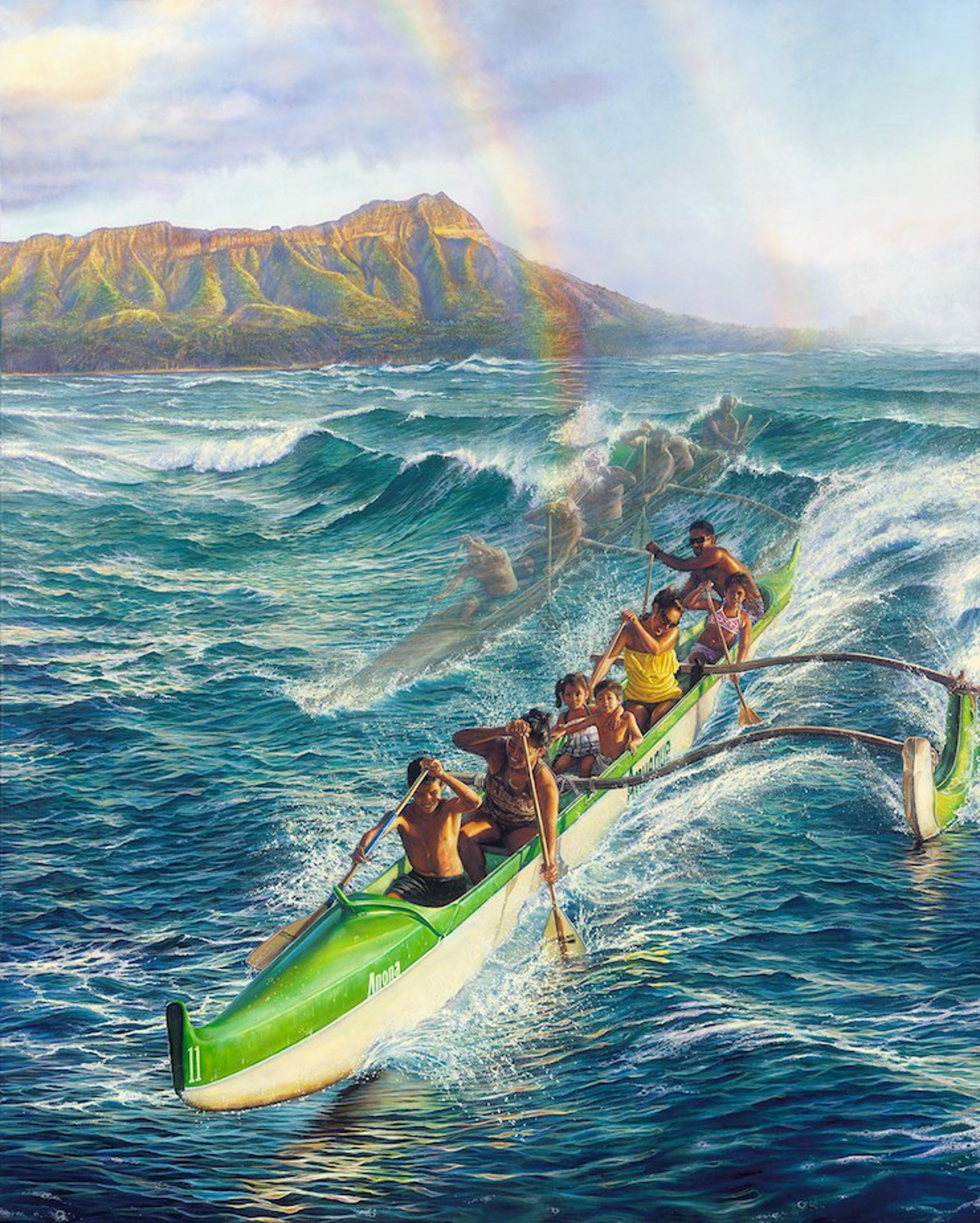 Ke 'Ano 'Ano O Ke 'Anuenue (Surfing Canoes) by Leohone