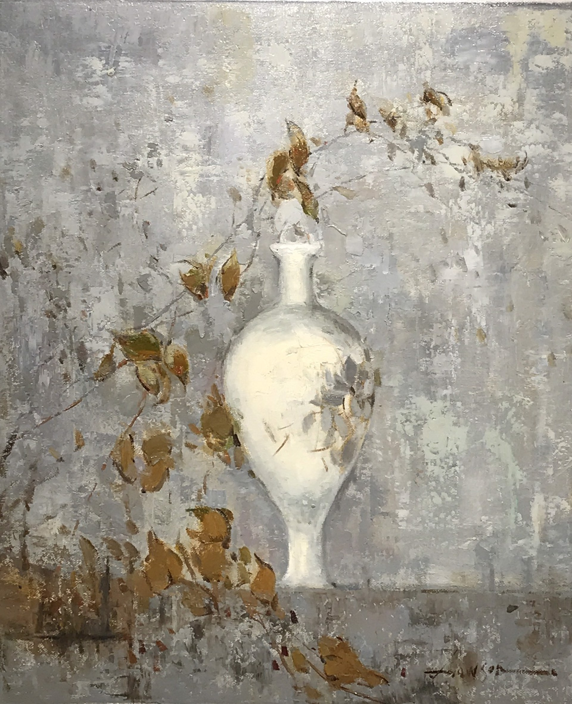 NARROW VASE WITH GREENERY II by LAWSON