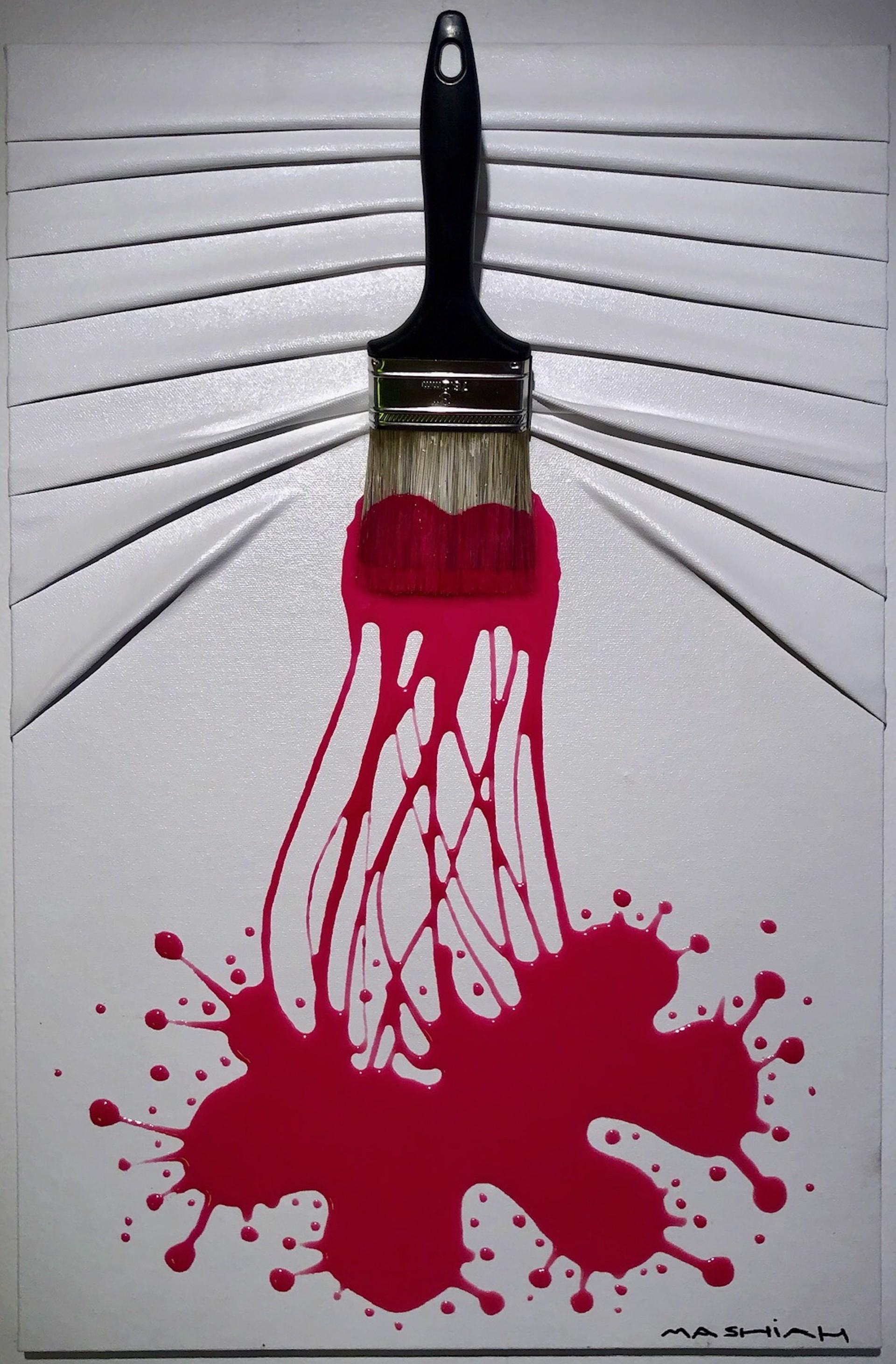 """Let's Paint"" small, Red splash on White by Efi Mashiah"