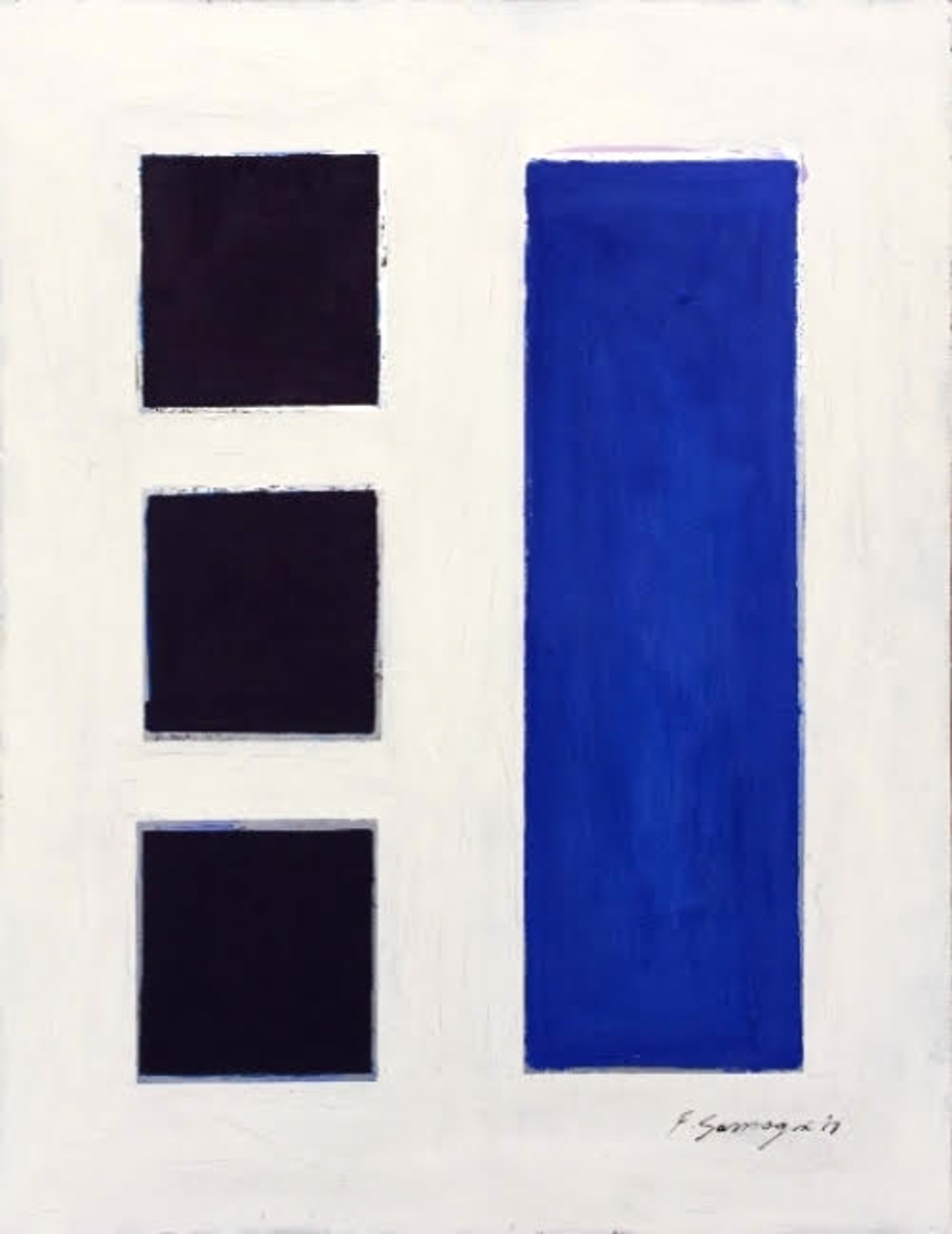 No Significance #12 (blue squares  / white background) by Fabio Sanzogni