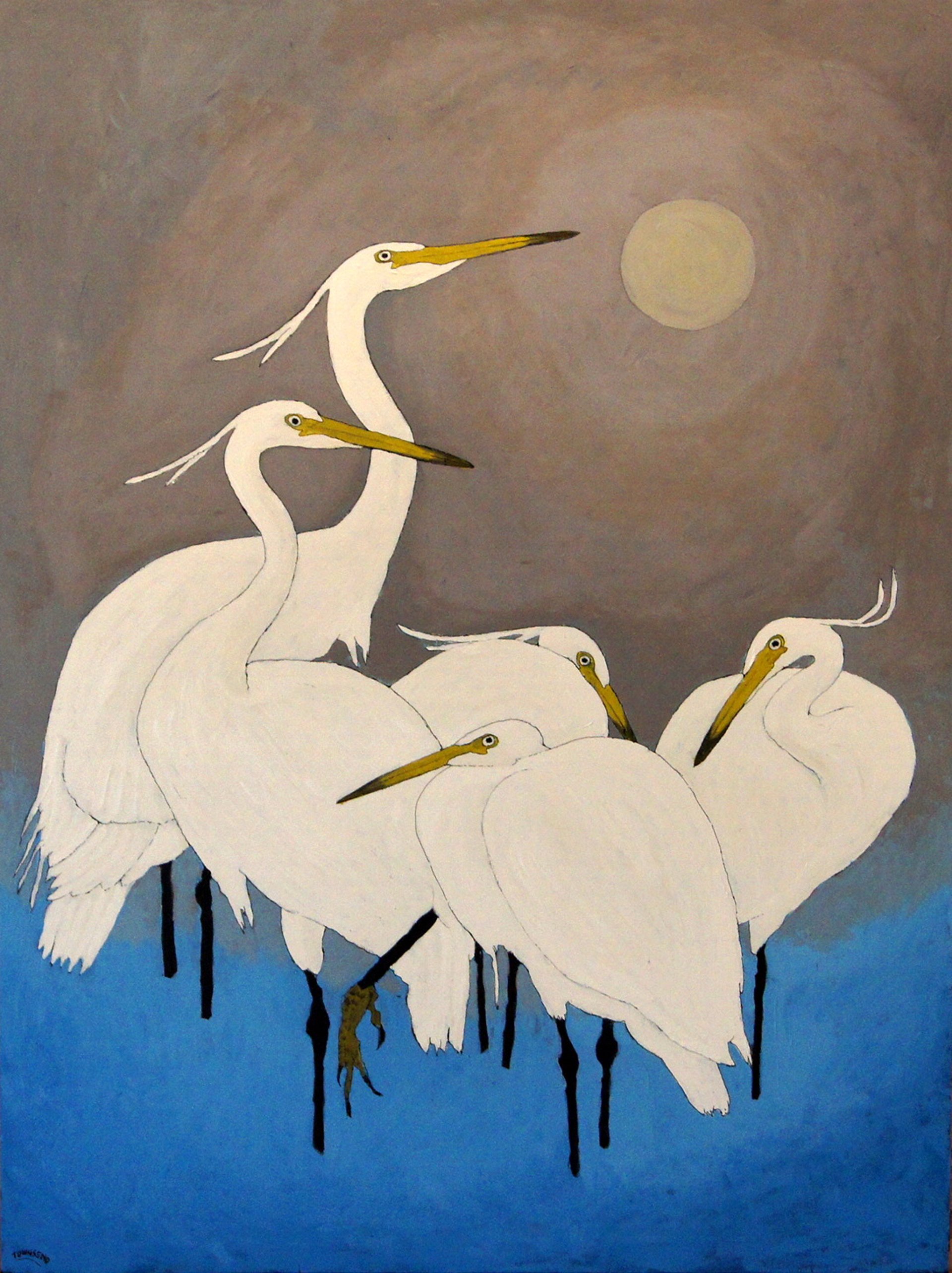 Koson Egrets with Moon by John Townsend