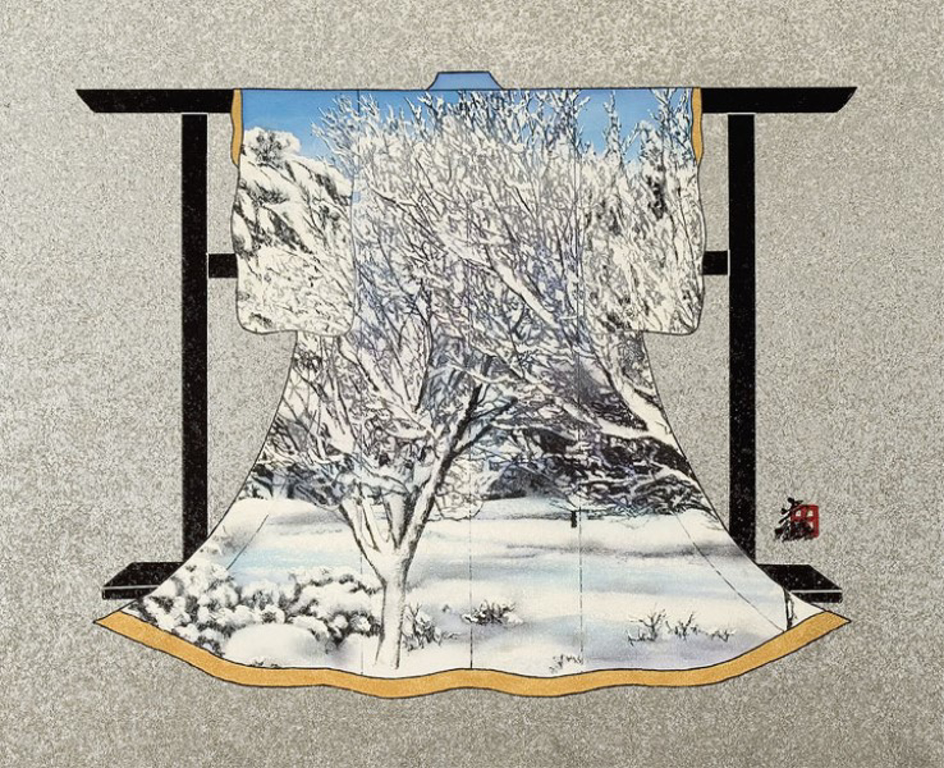 Trees On Snowy Hillside (Landscape) by Hisashi Otsuka