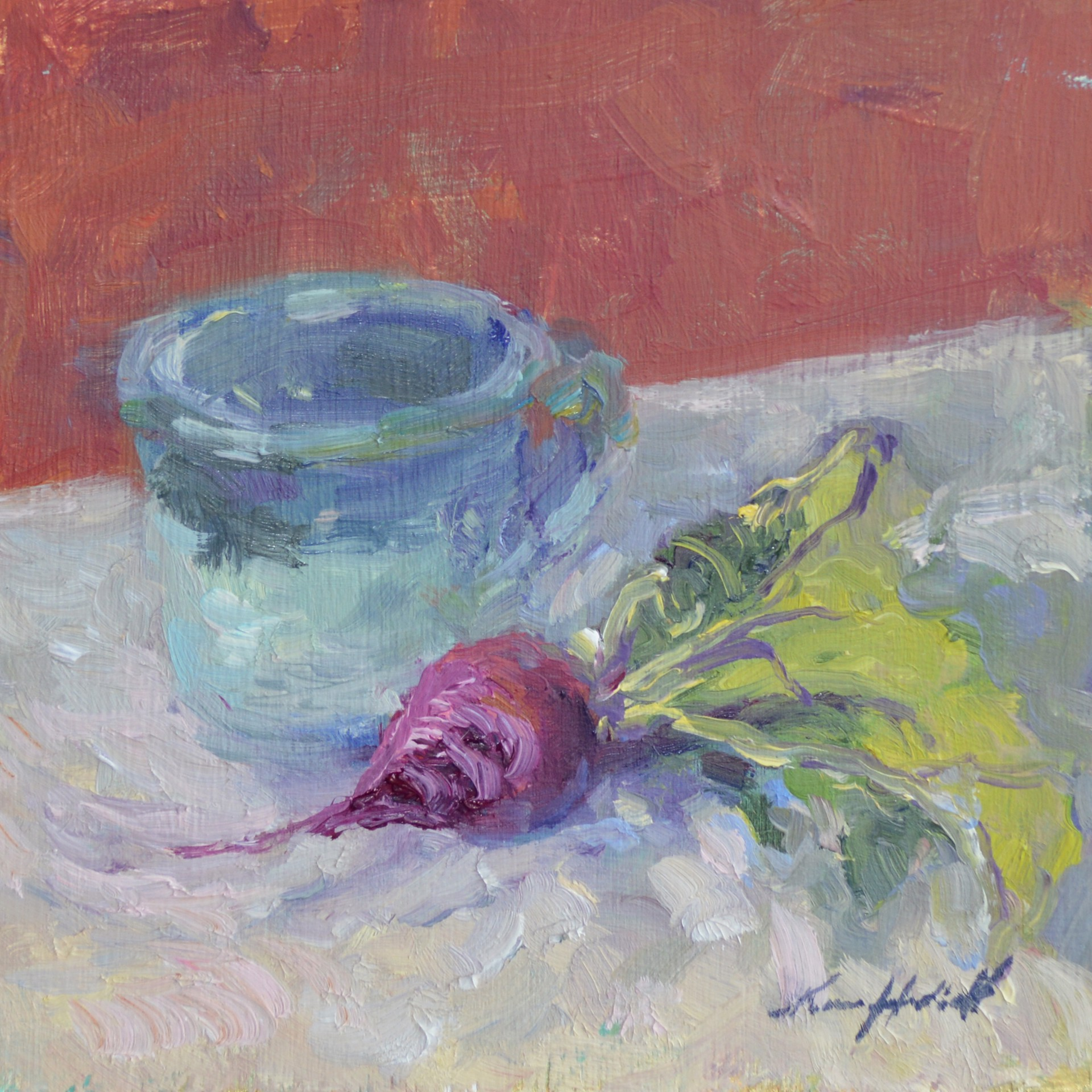 Lone Radish and Blue Cup by Karen Hewitt Hagan