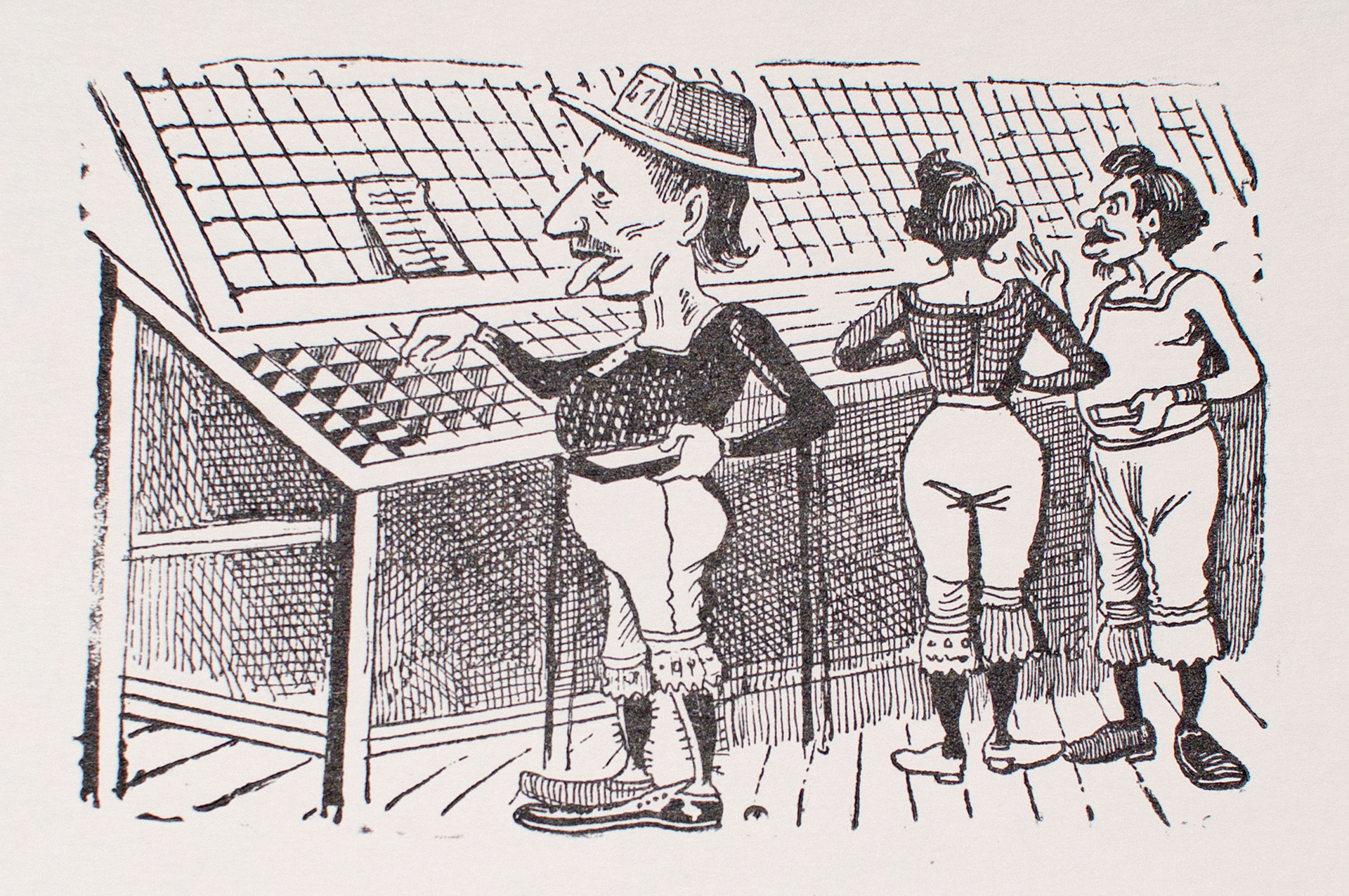 A man wearing bloomers and a hat looking through merchandise by José Guadalupe Posada (1852 - 1913)
