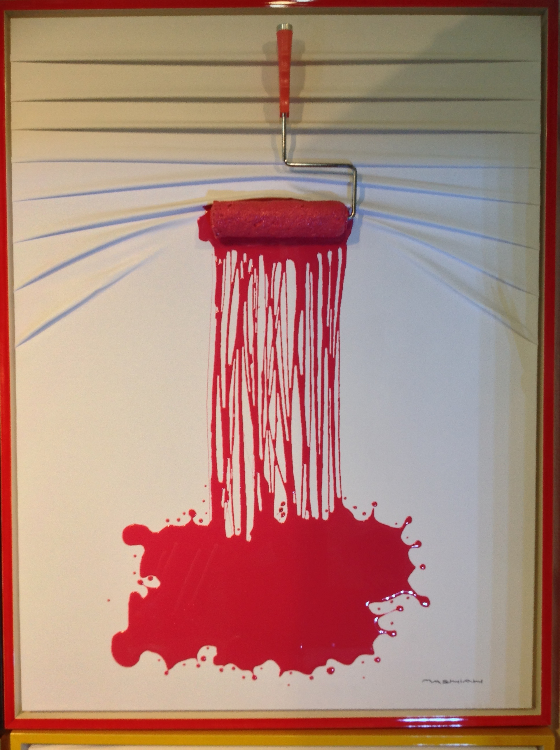 """""""Lets Paint"""" Roller Red on White by Efi Mashiah"""