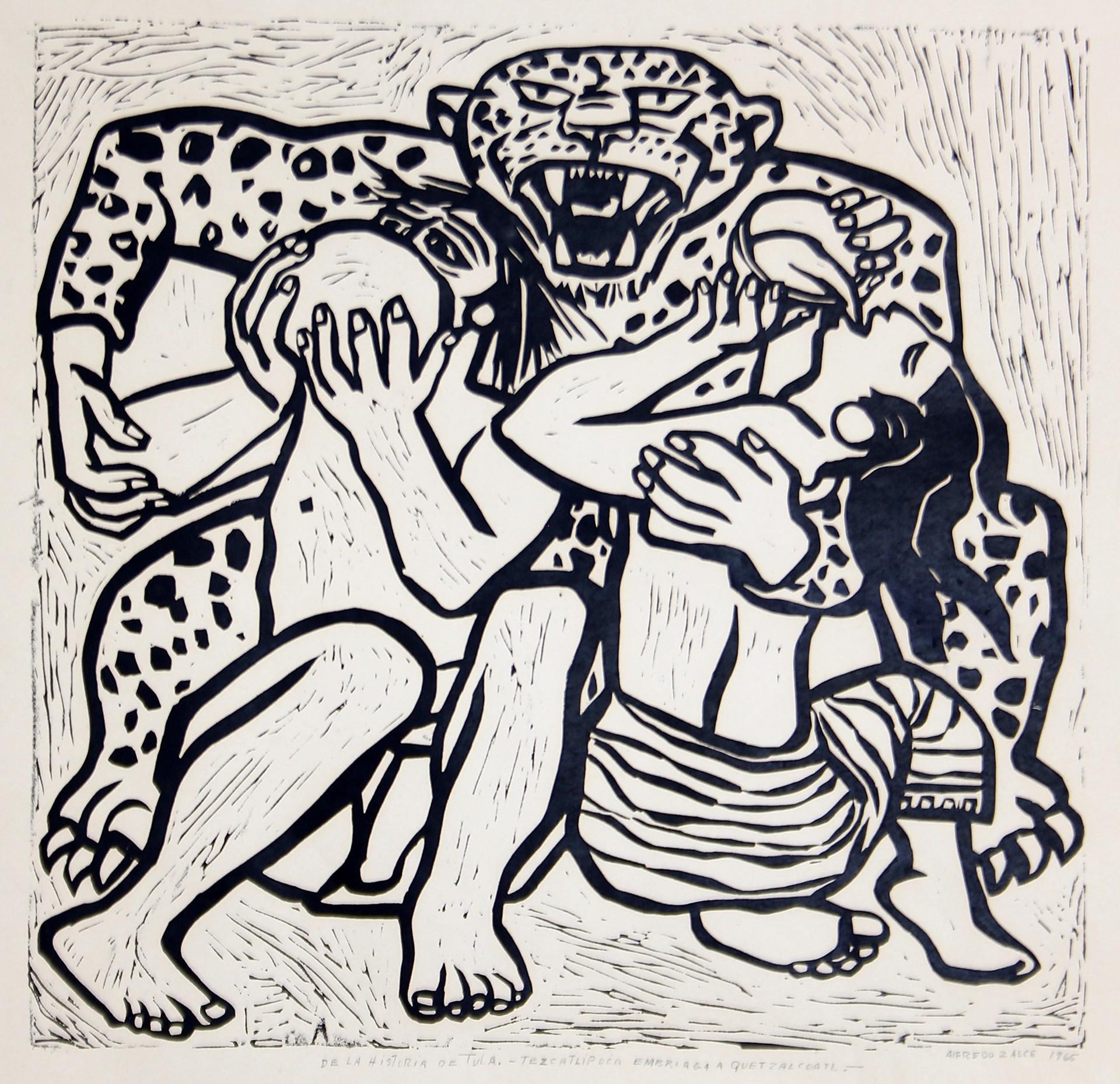 Tezcatlipoca Embriaga a Quetzalcoatl: De la Historia de Tula (Framed) by Alfredo Zalce (1908 - 2003)