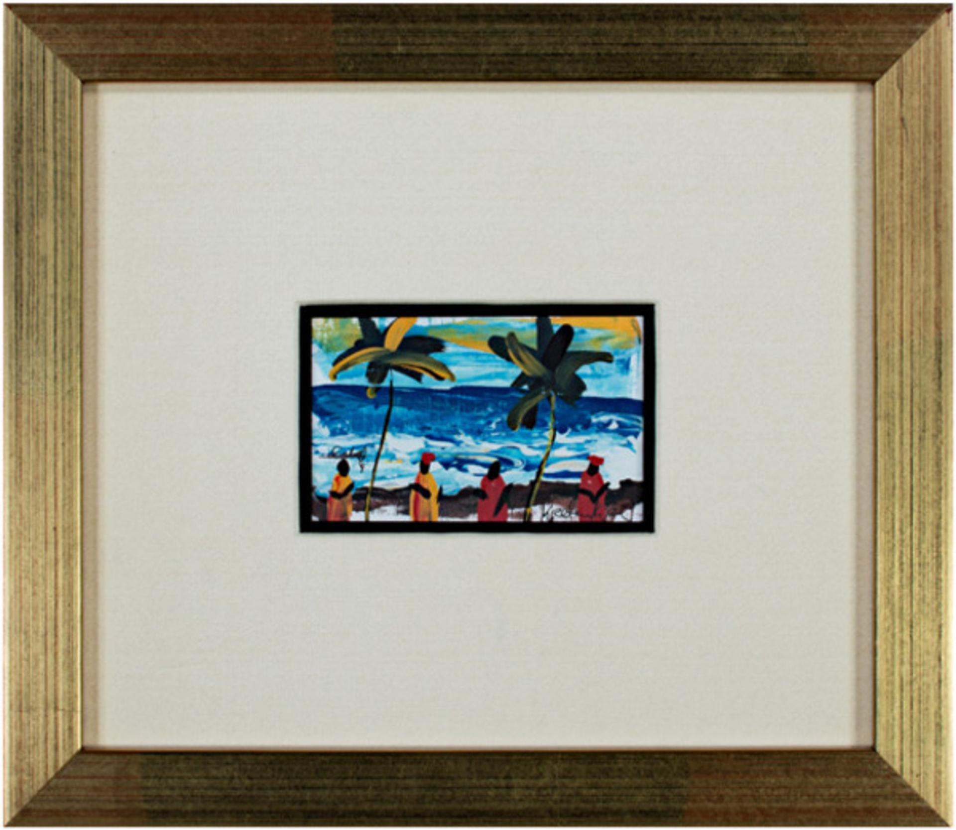 Dancing on the Sandy Beach of the S. Atlantic Shore, Ghana, Africa (Palm Trees) by Samuel B. Kpetenkple
