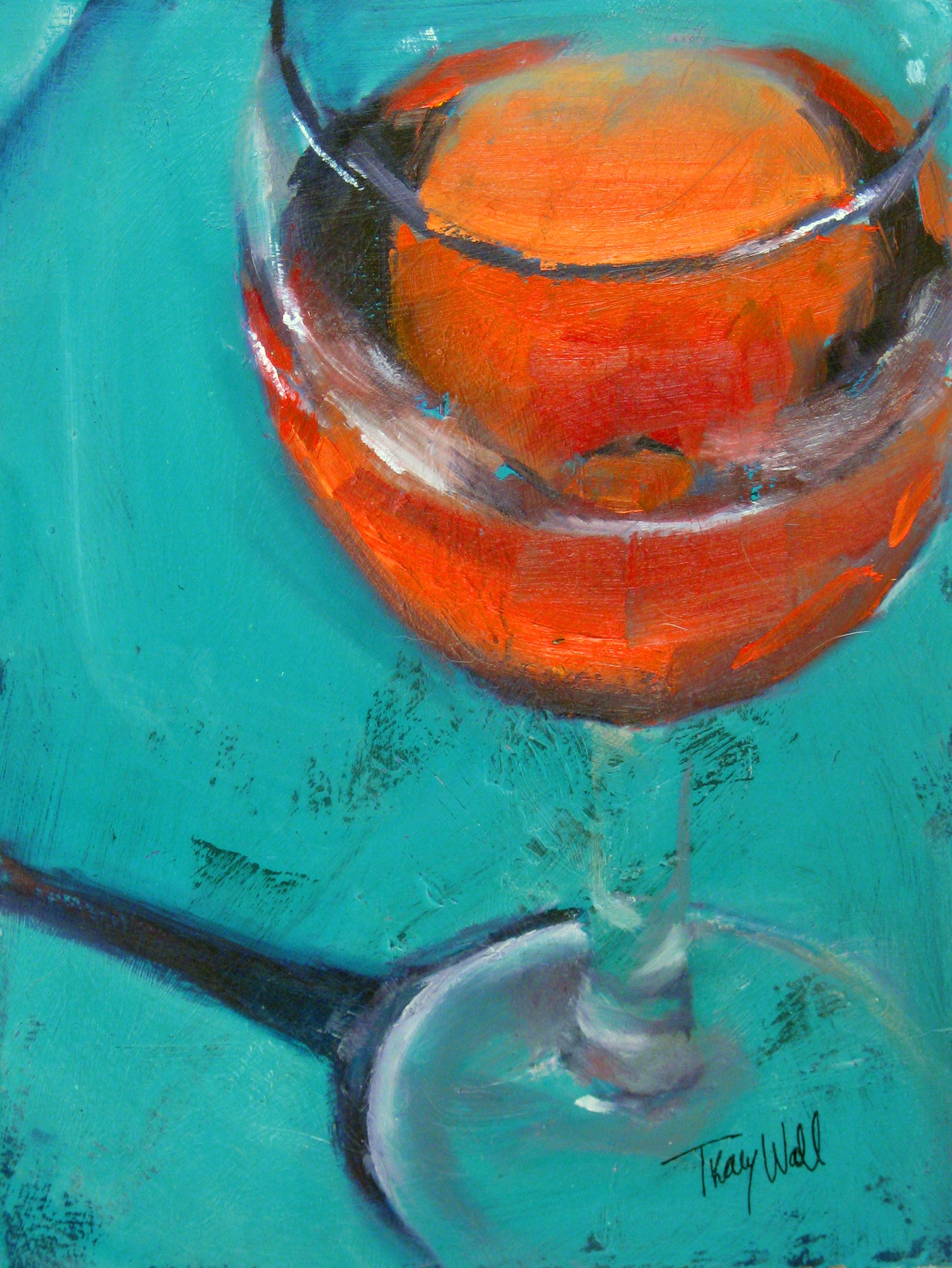 Turquoise Blush(wine study) by Tracy Wall