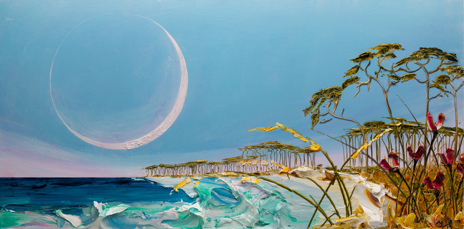 (SOLD) SUNRISE MOONSCAPE-MS-60x30-2019-229 by JUSTIN GAFFREY