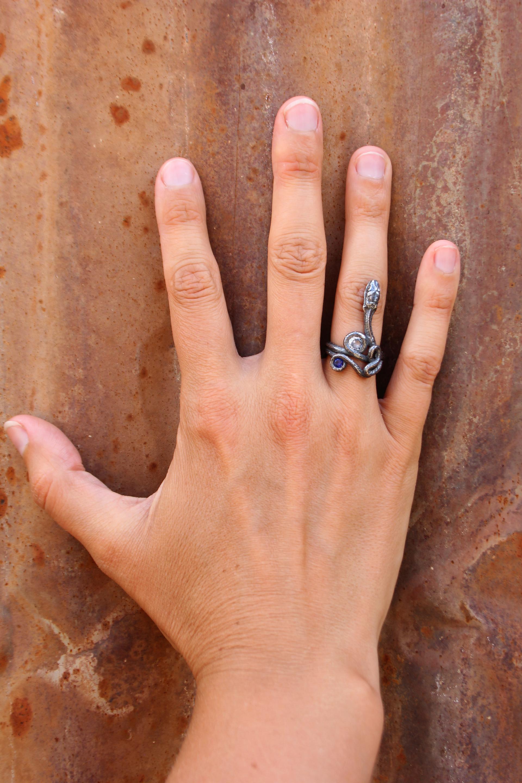 Sapphire and Blue Zircon Serpentine Ring by Anna Johnson