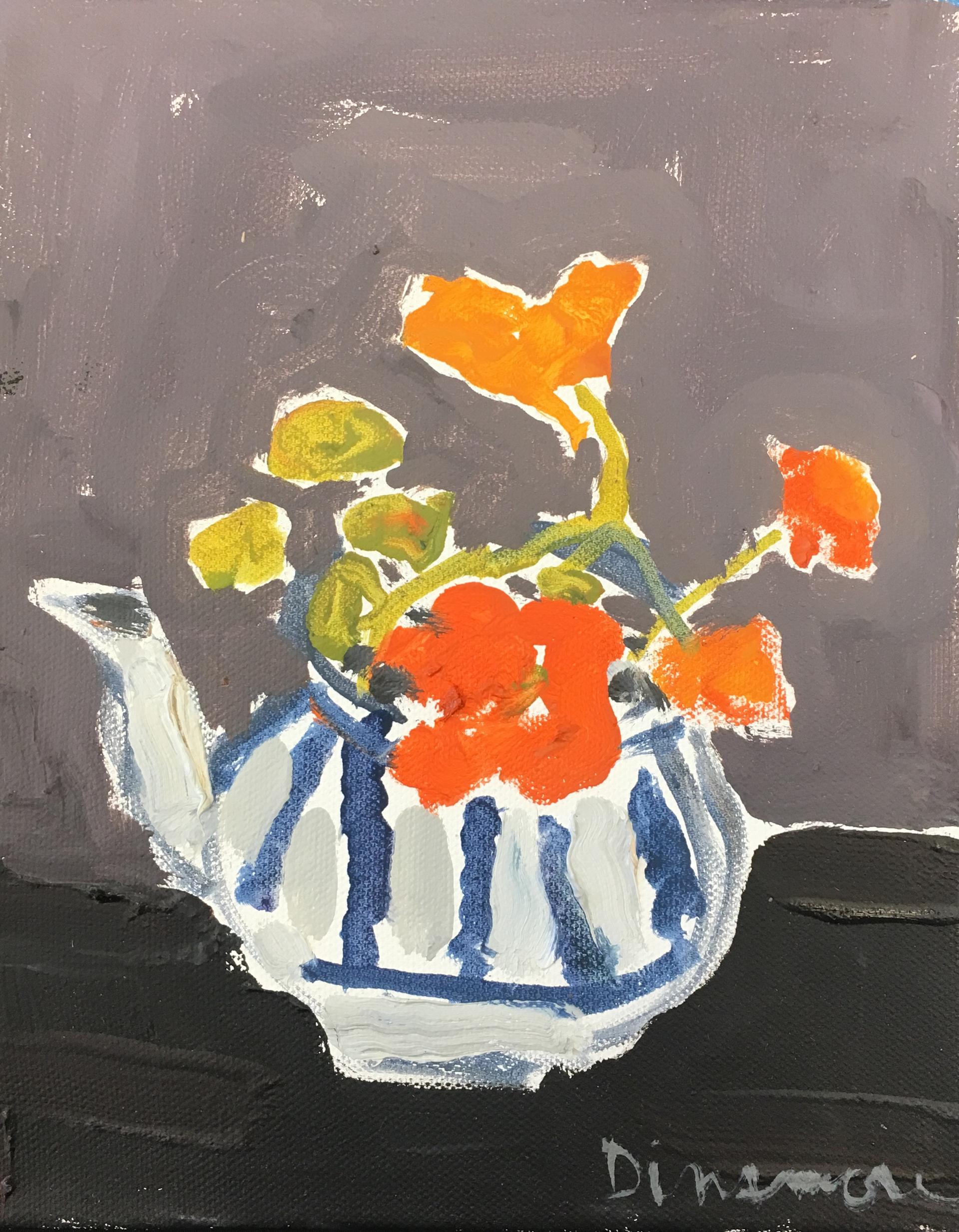 Nasturtiums in teapot by Stephen Dinsmore