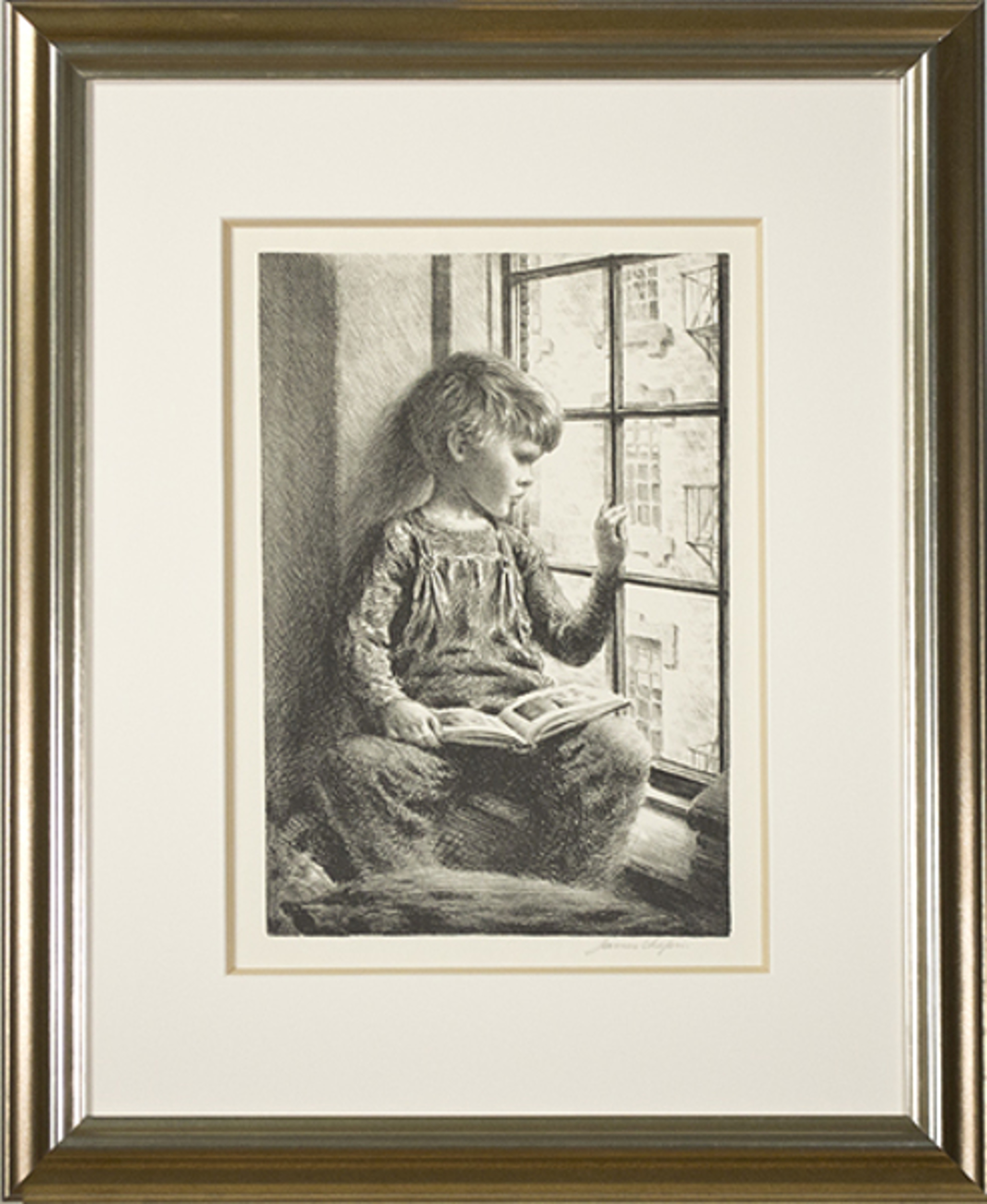 Boy With Book Looking Out Window by James Ormsbee Chapin