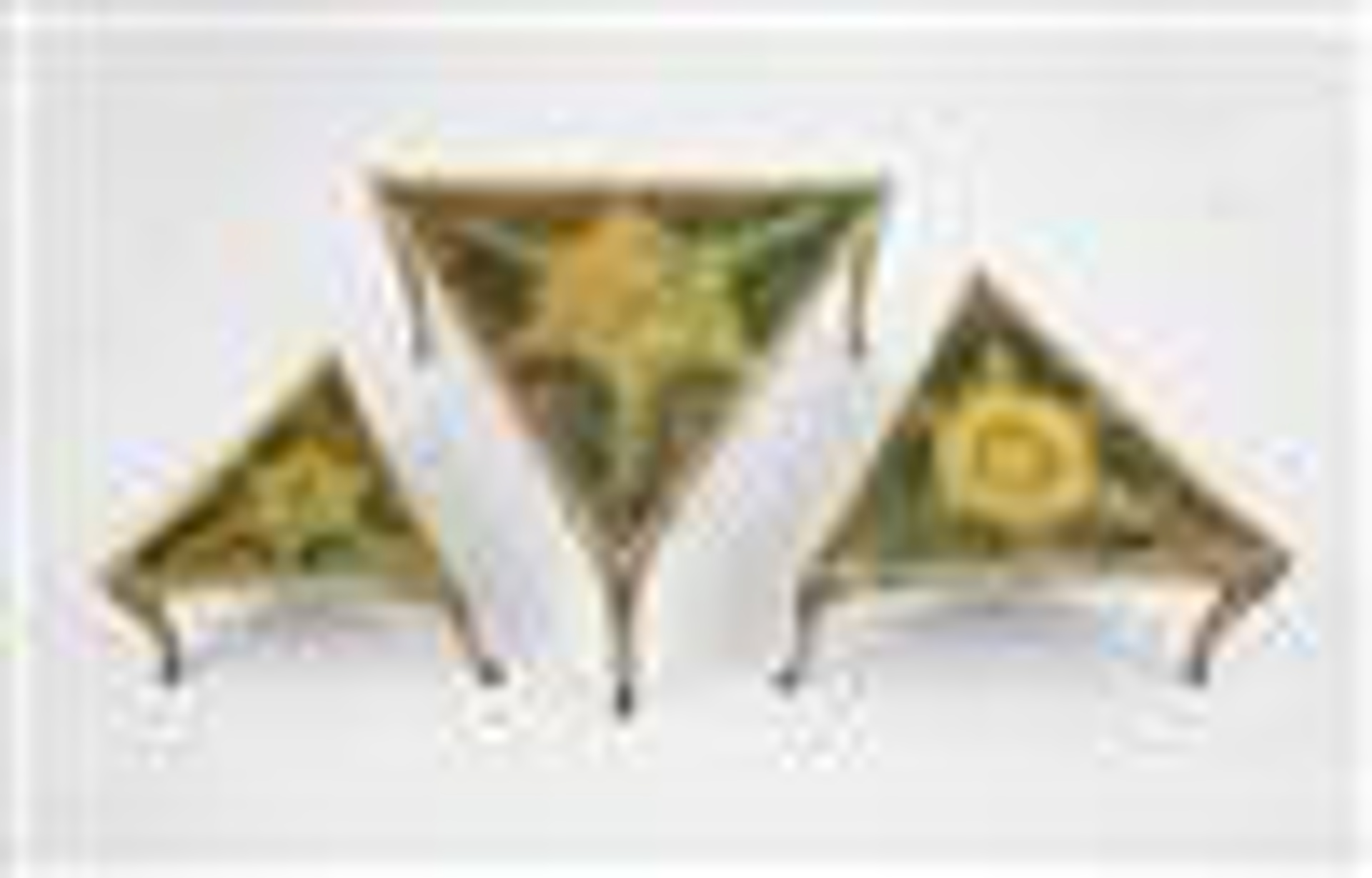 Set of Three Painted and Faux Marble Triangular Stackable Tables