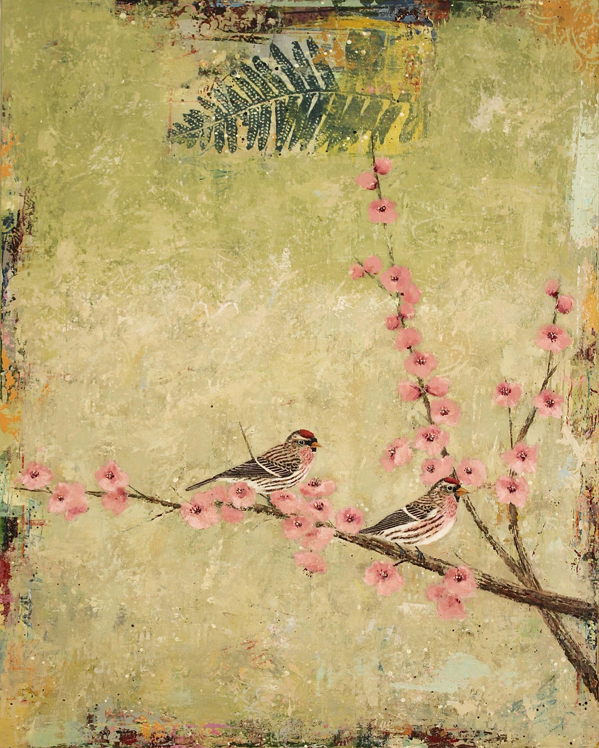 Common Redpolls With Blossoms by Paul Brigham