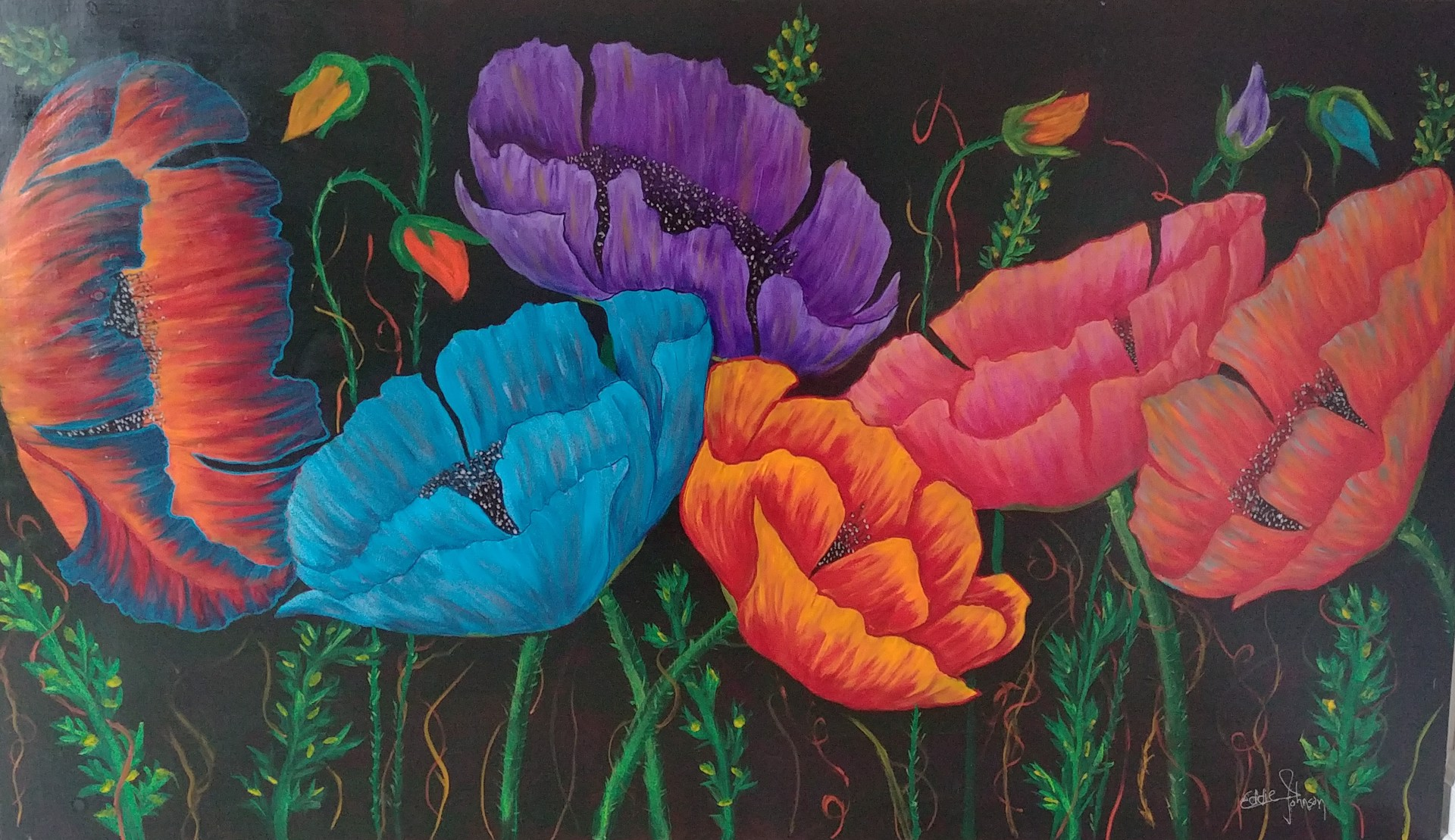 Multicolored Poppies by Edwin Johnson (McMinnville, OR)