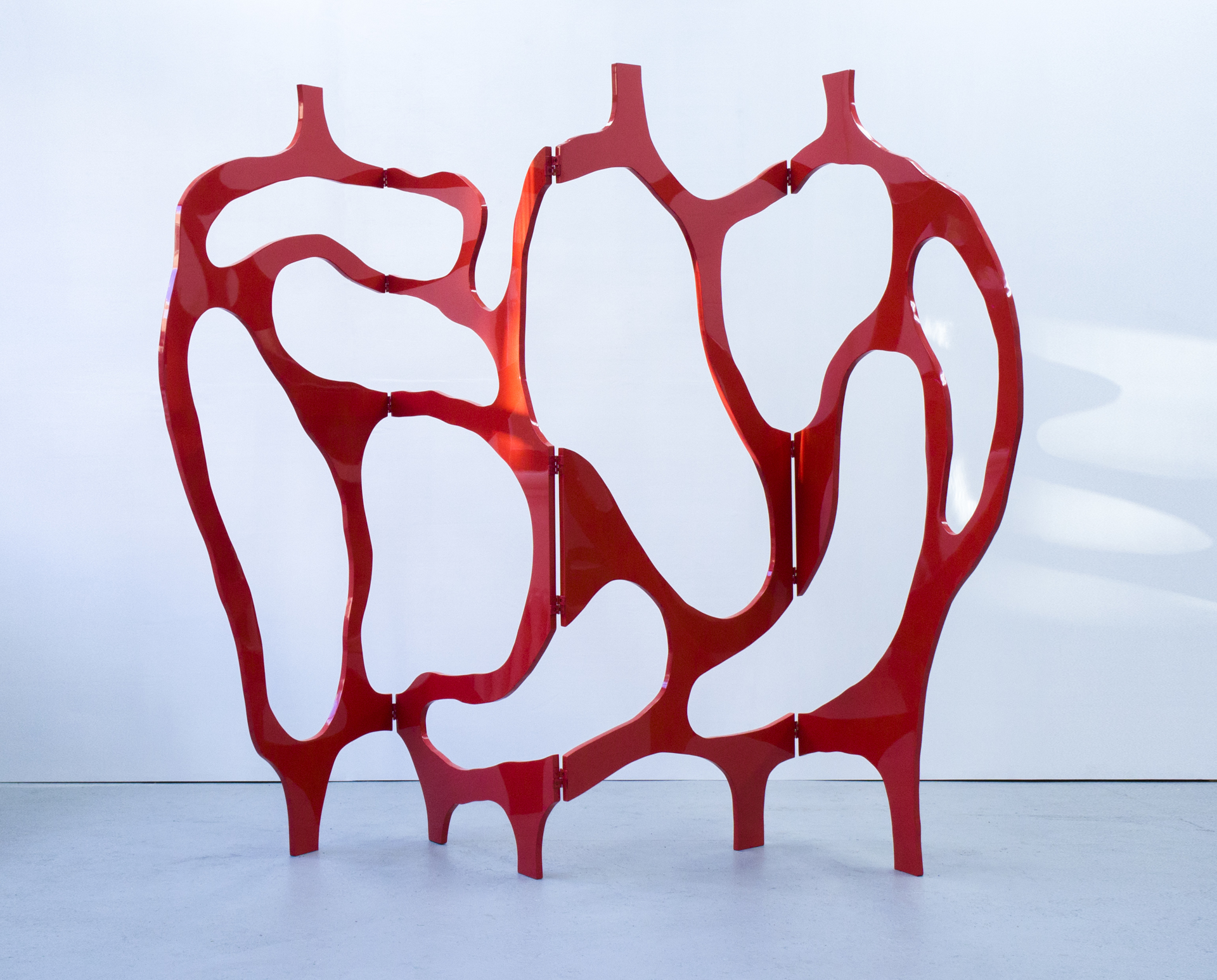 """Meanders"" Screen in coral lacquer by Jacques Jarrige"