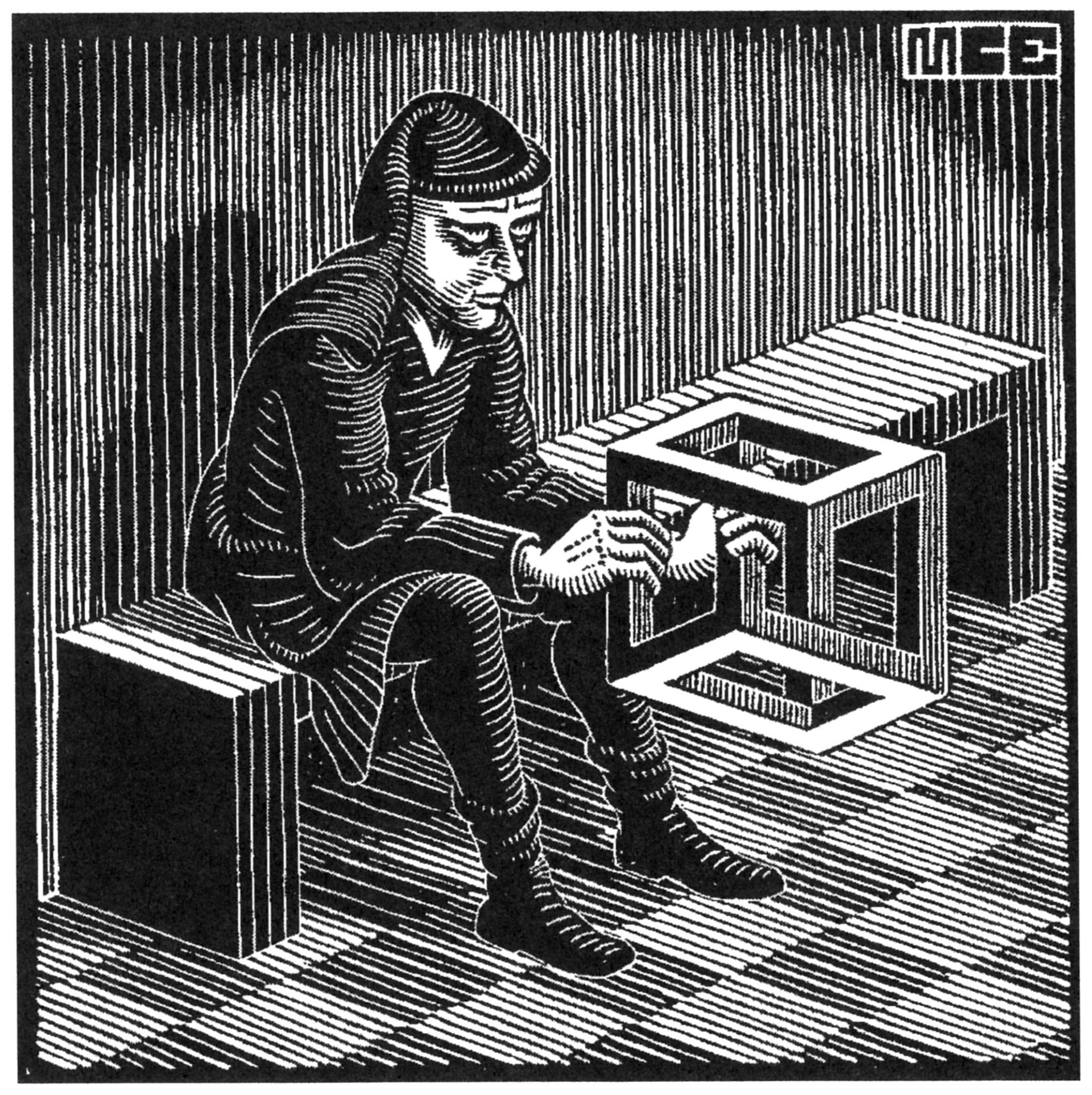 Man with Cube by M.C. Escher