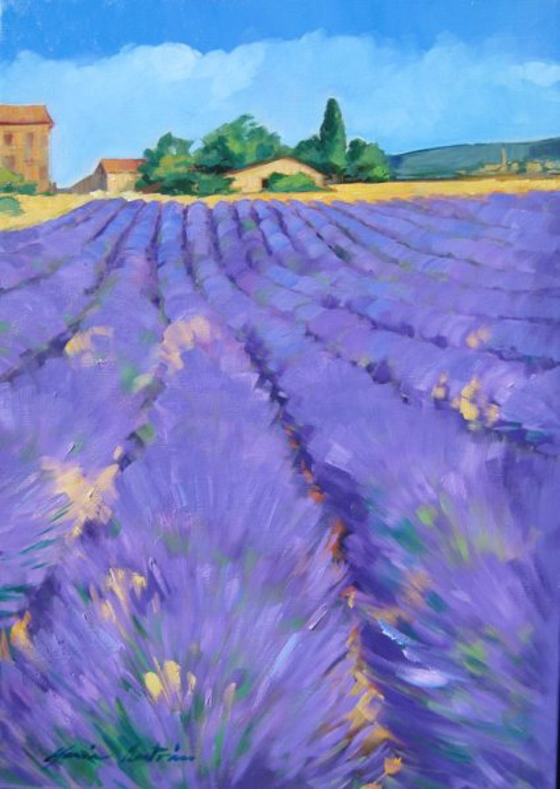 Rows Of Lavender Below Provence Farm by Maria Bertrán