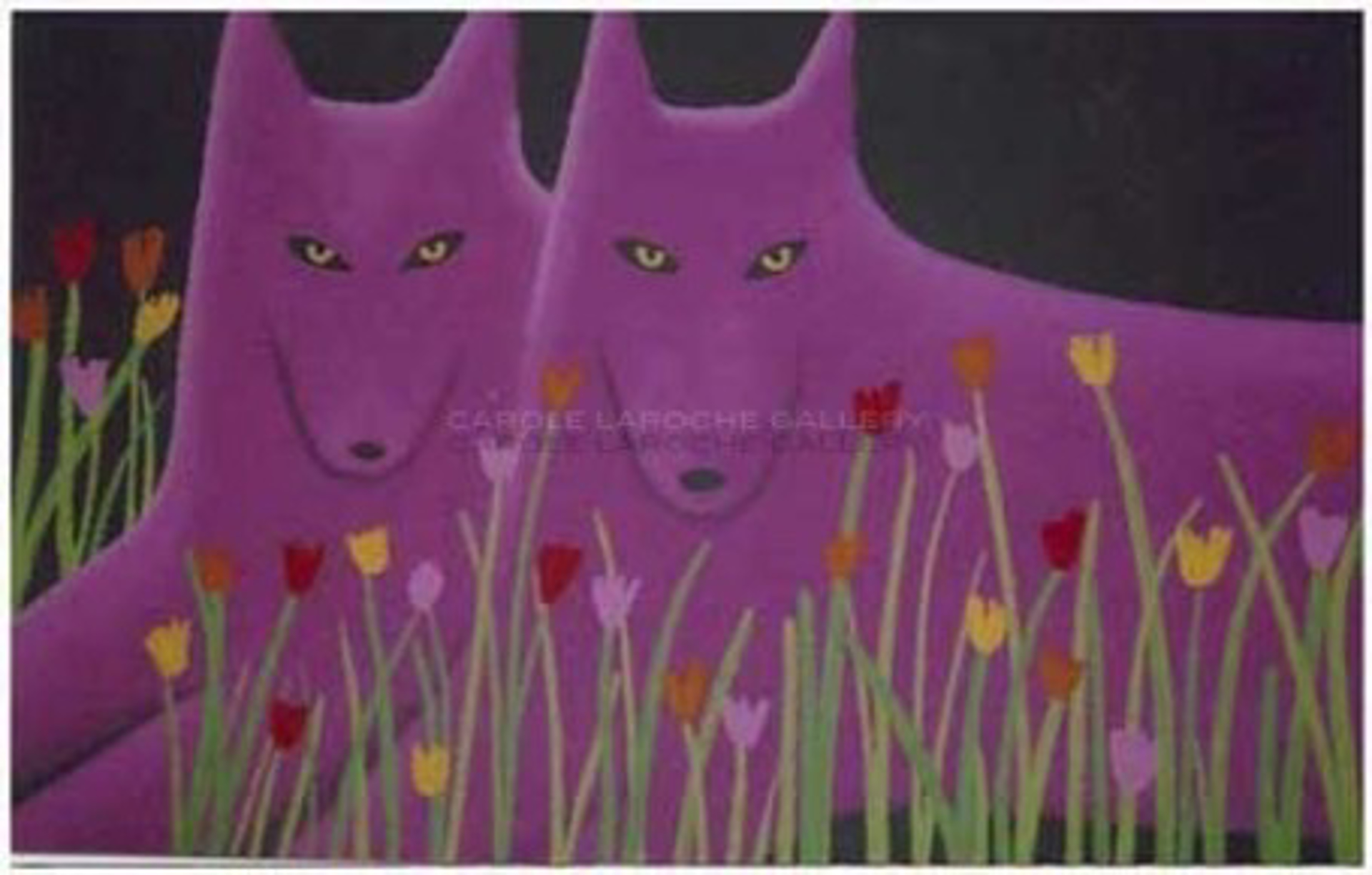 """TWO MAGENTA WOLVES AND WILDFLOWERS - limited edition giclee on canvas 25""""x35"""" by Carole LaRoche"""