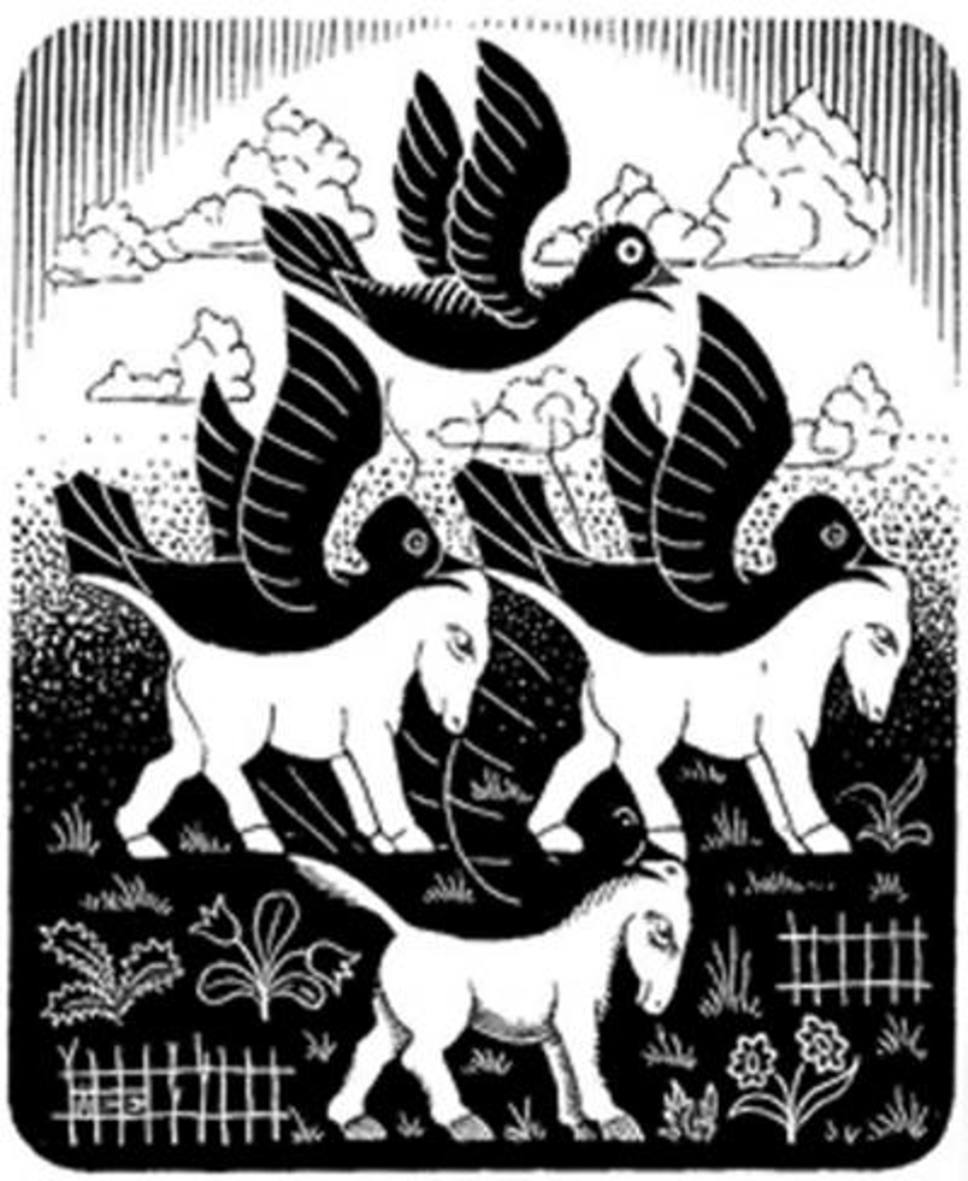 Horses and Birds by M.C. Escher