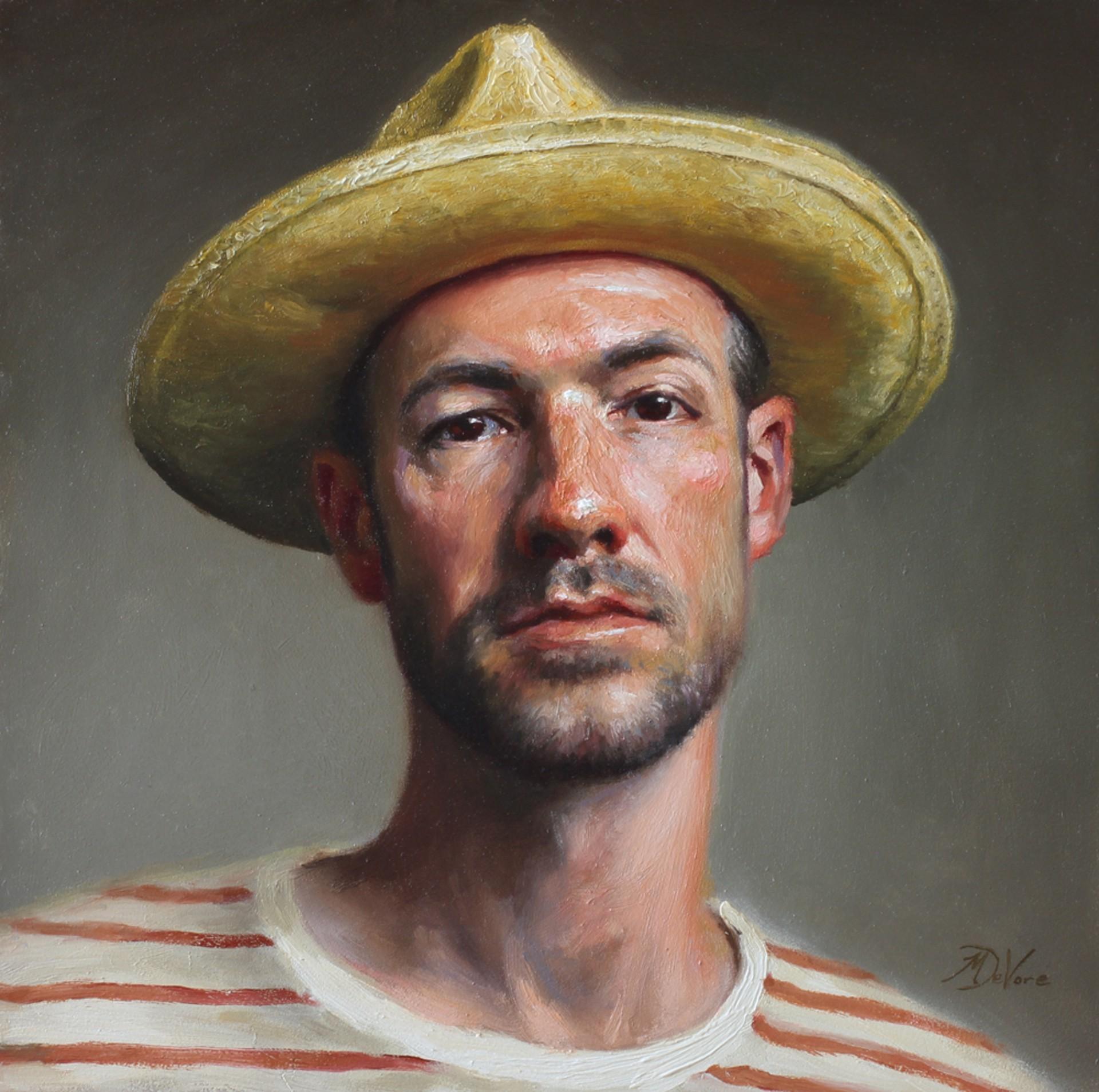 Self Portrait in Straw Hat by Michael DeVore