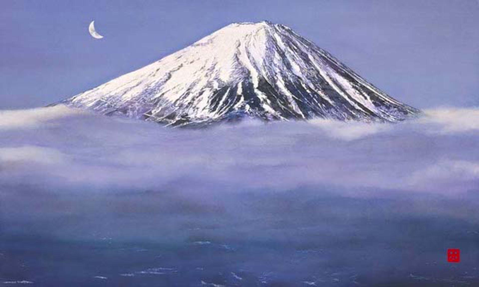 Crescent Moon Over Mt Fuji by Hisashi Otsuka