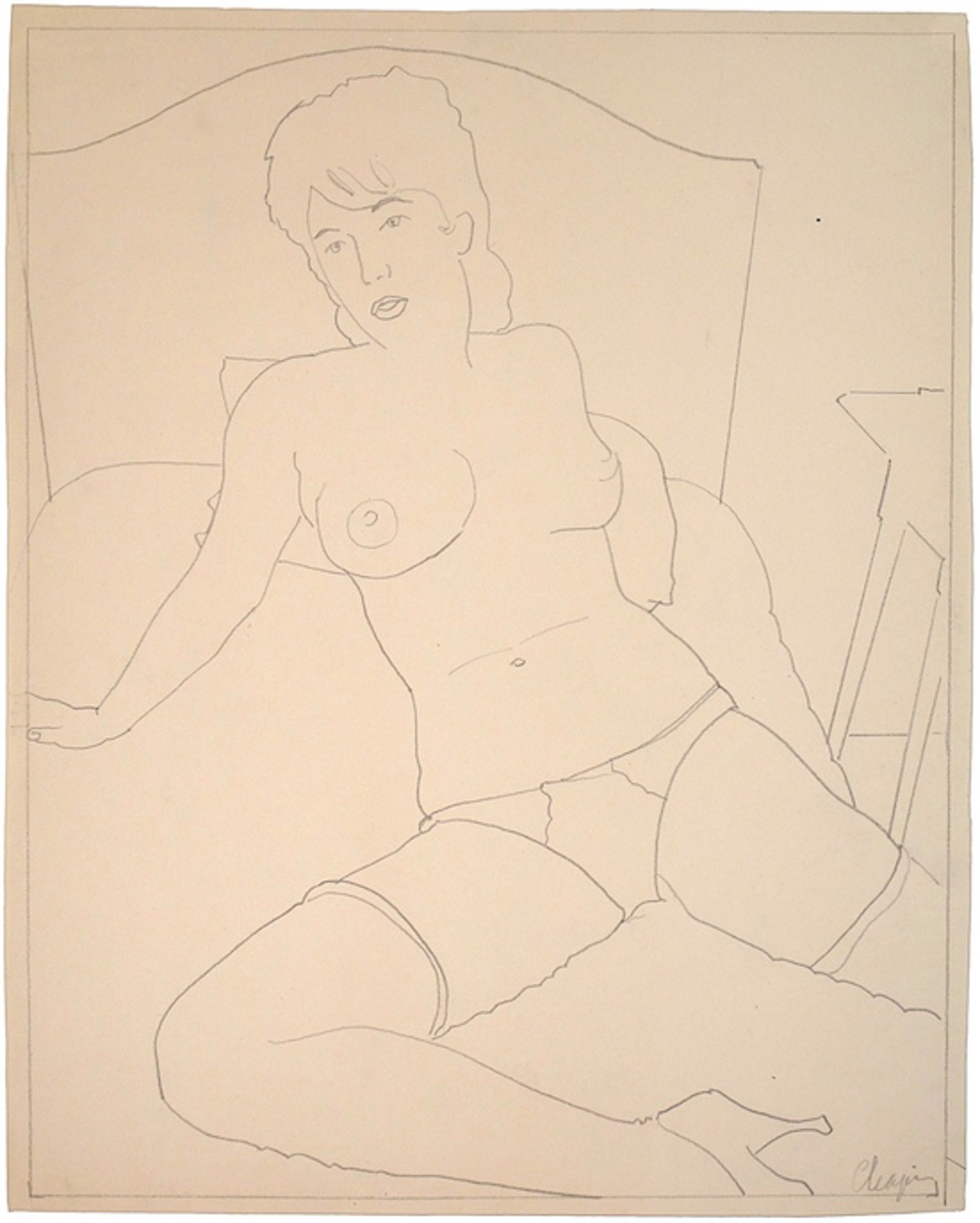 Nude with Headboard and Nightstand by David Chapin