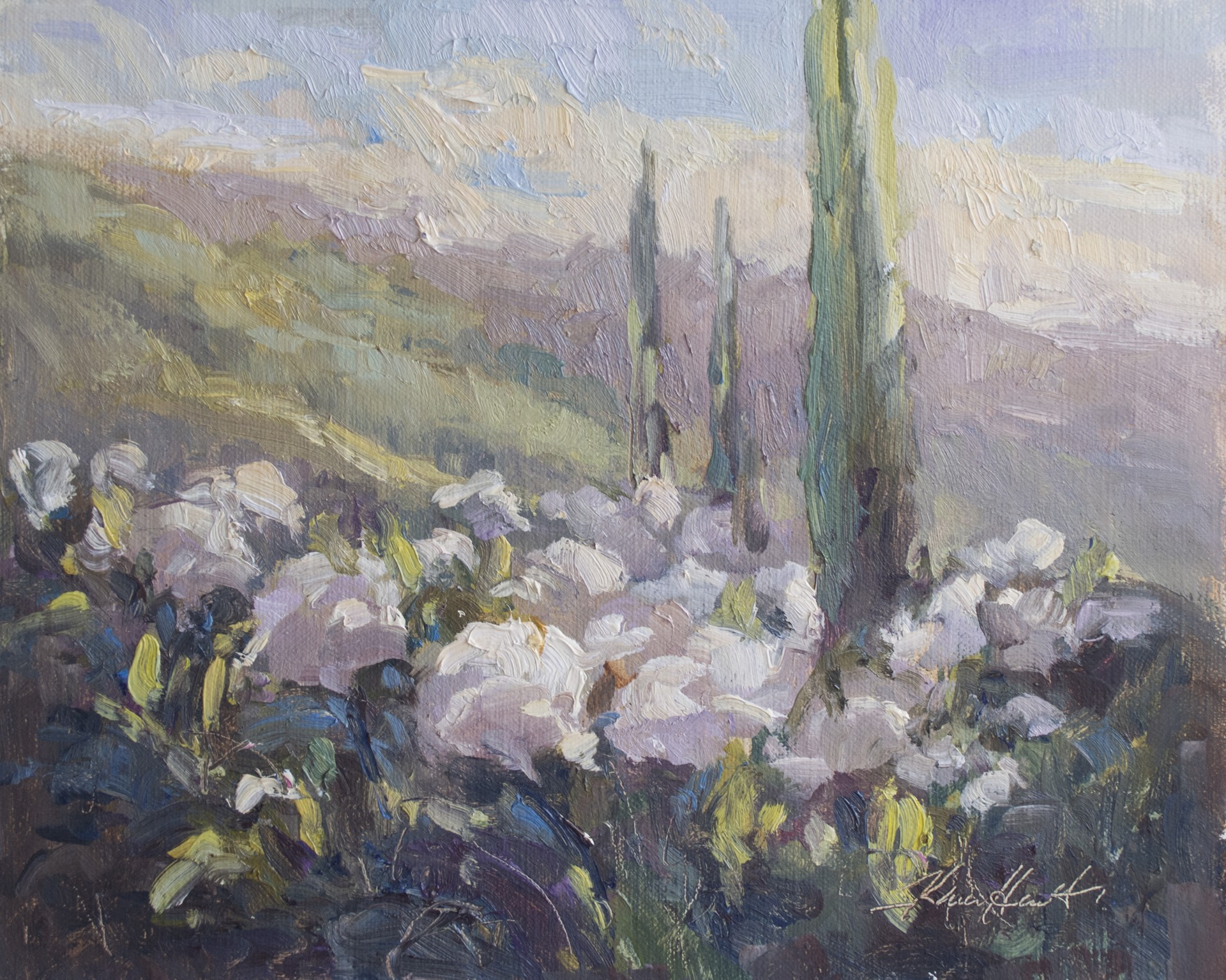 White Roses and Cypress Trees by Karen Hewitt Hagan