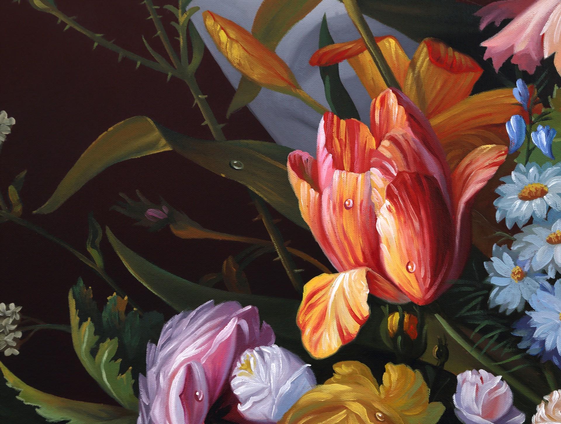 (Flower Still Life With Bird's Nest) by Shawn Huckins