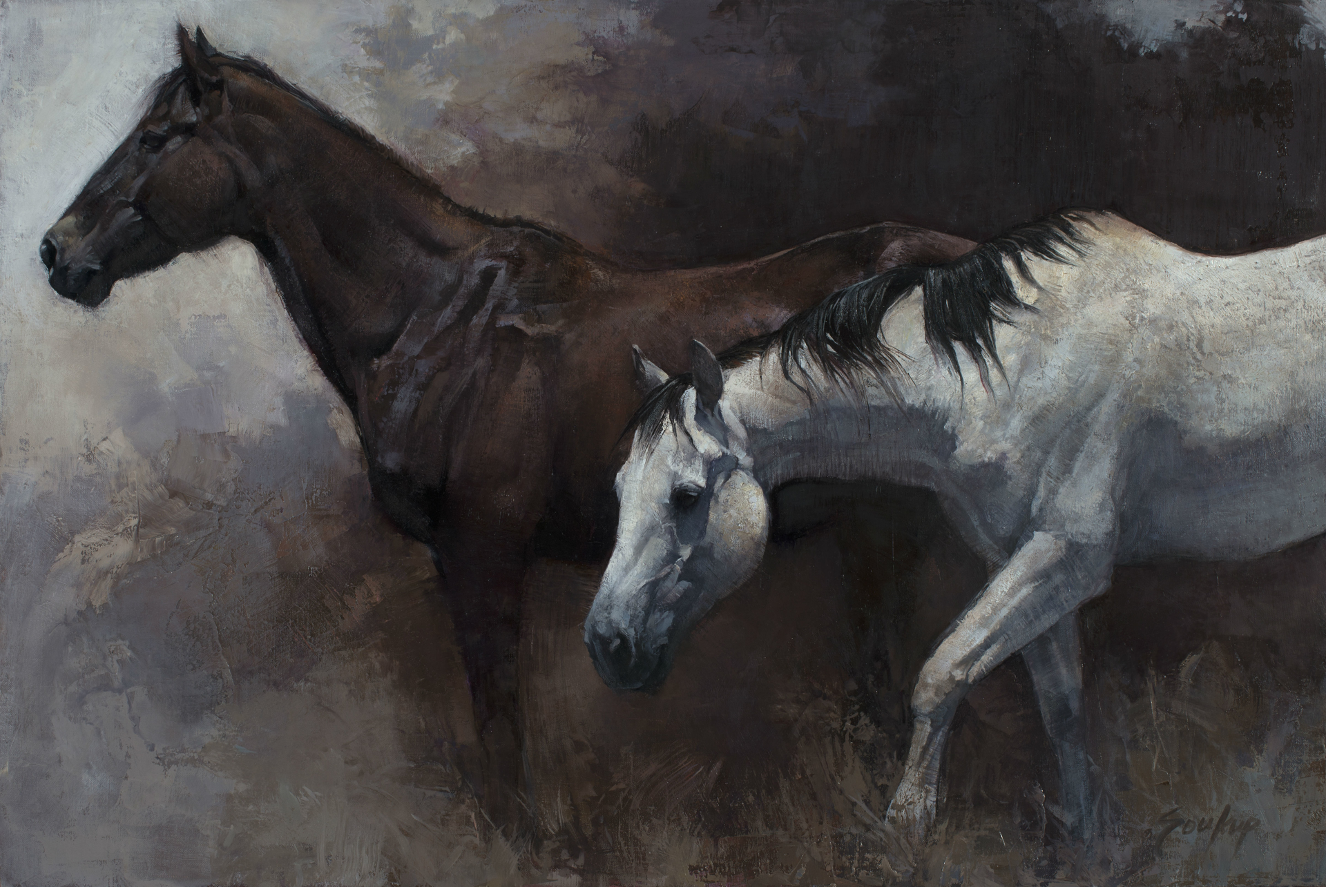 Dark and Light Horses No. 6 by Jill Soukup