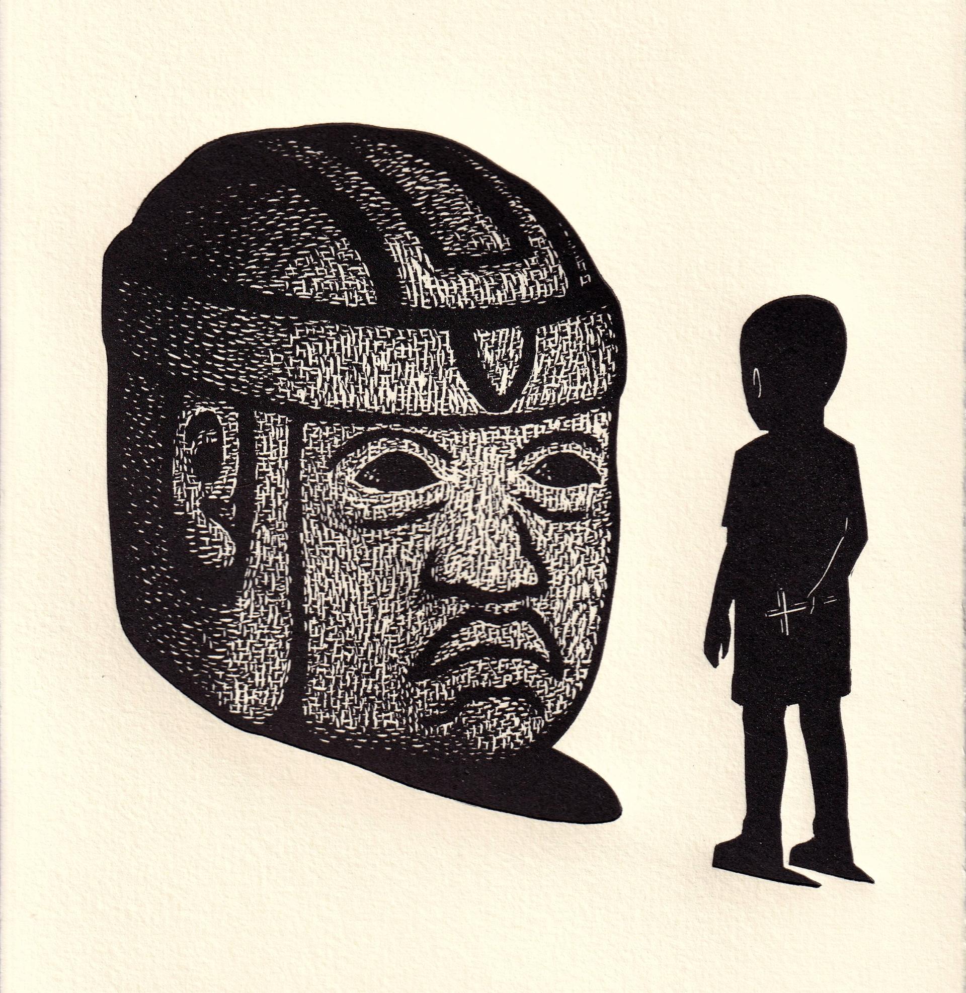 Niño con Olmeca by Alberto Cruz