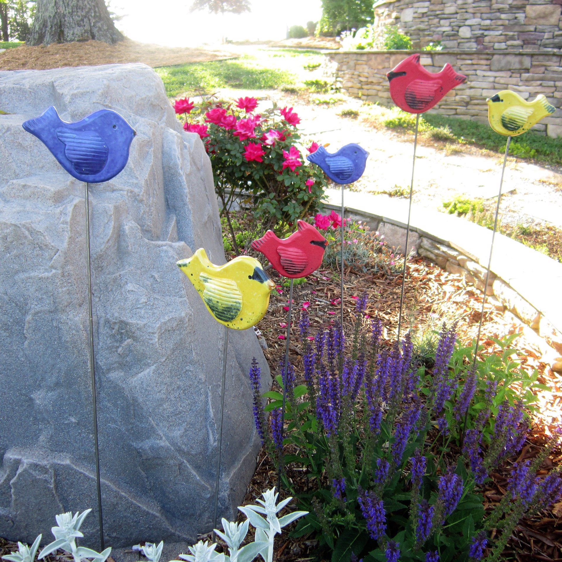Finch Garden Stake (Small) by Lin Barnhardt