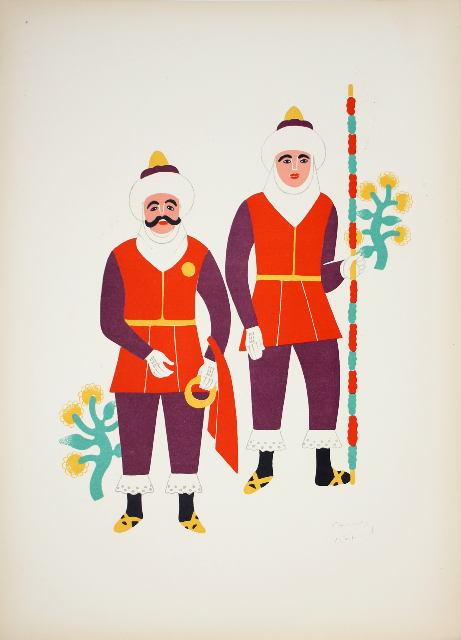 Two Men From Ocotoxco Dressed as Moors by Carlos Mérida (1891 - 1985)