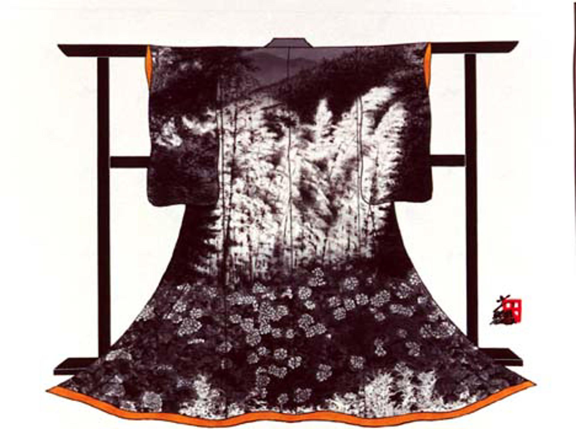 Kimono Hydrangea And Trees by Hisashi Otsuka