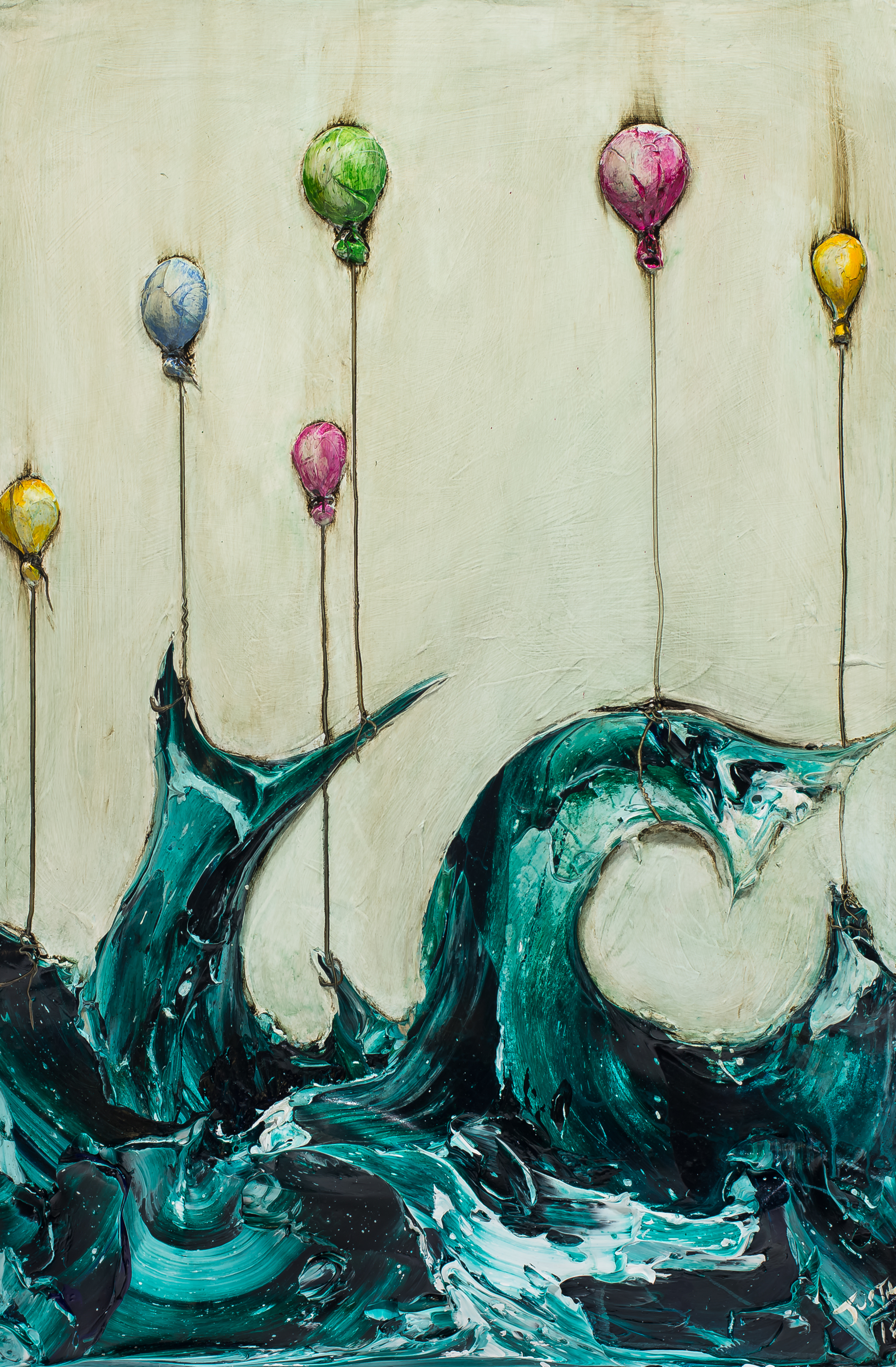 WAVE WITH BALLOONS WV24X36-2018-325 by Justin Gaffrey