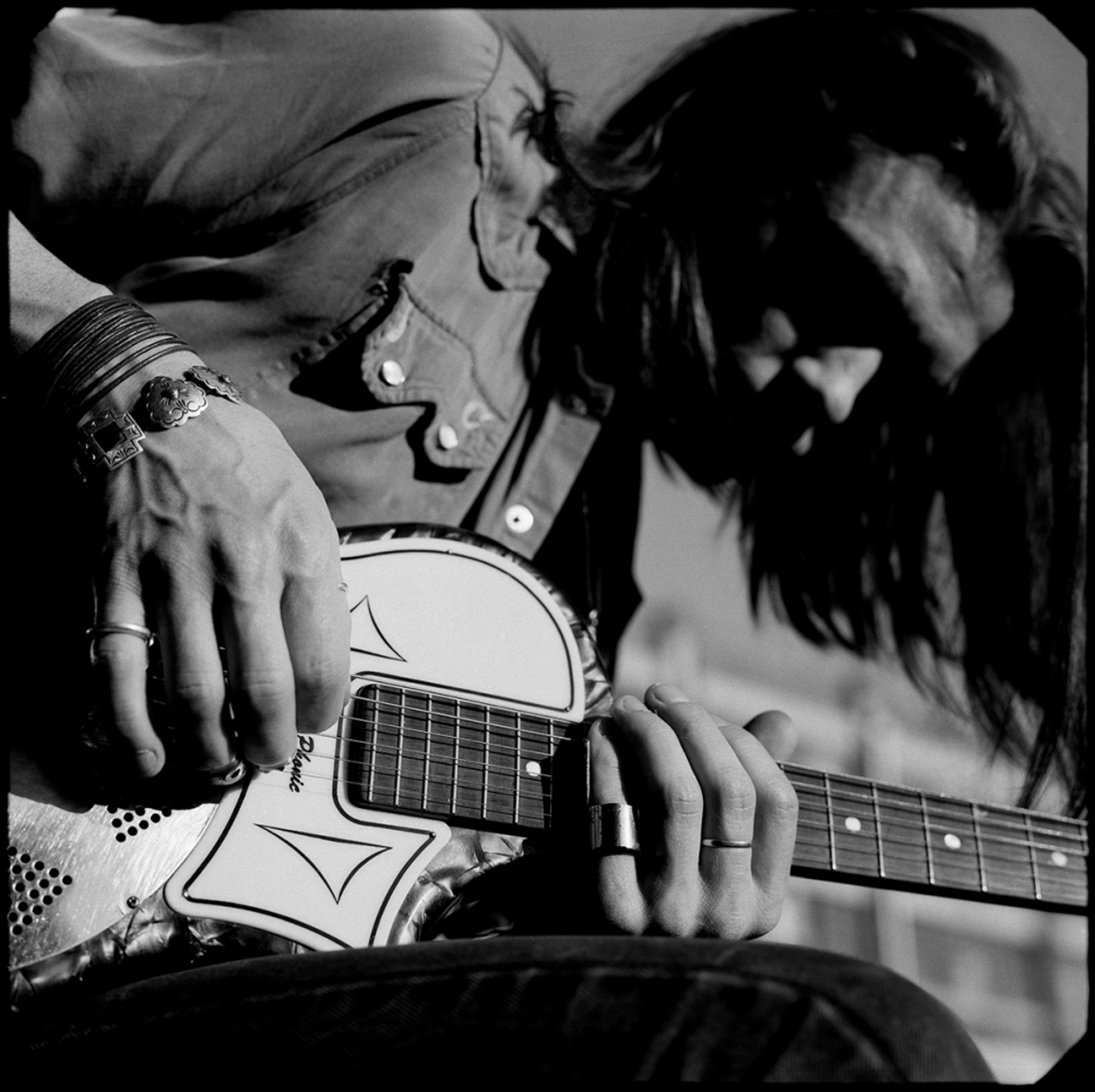 91026 Chris Whitley Playing Guitar BW by Timothy White