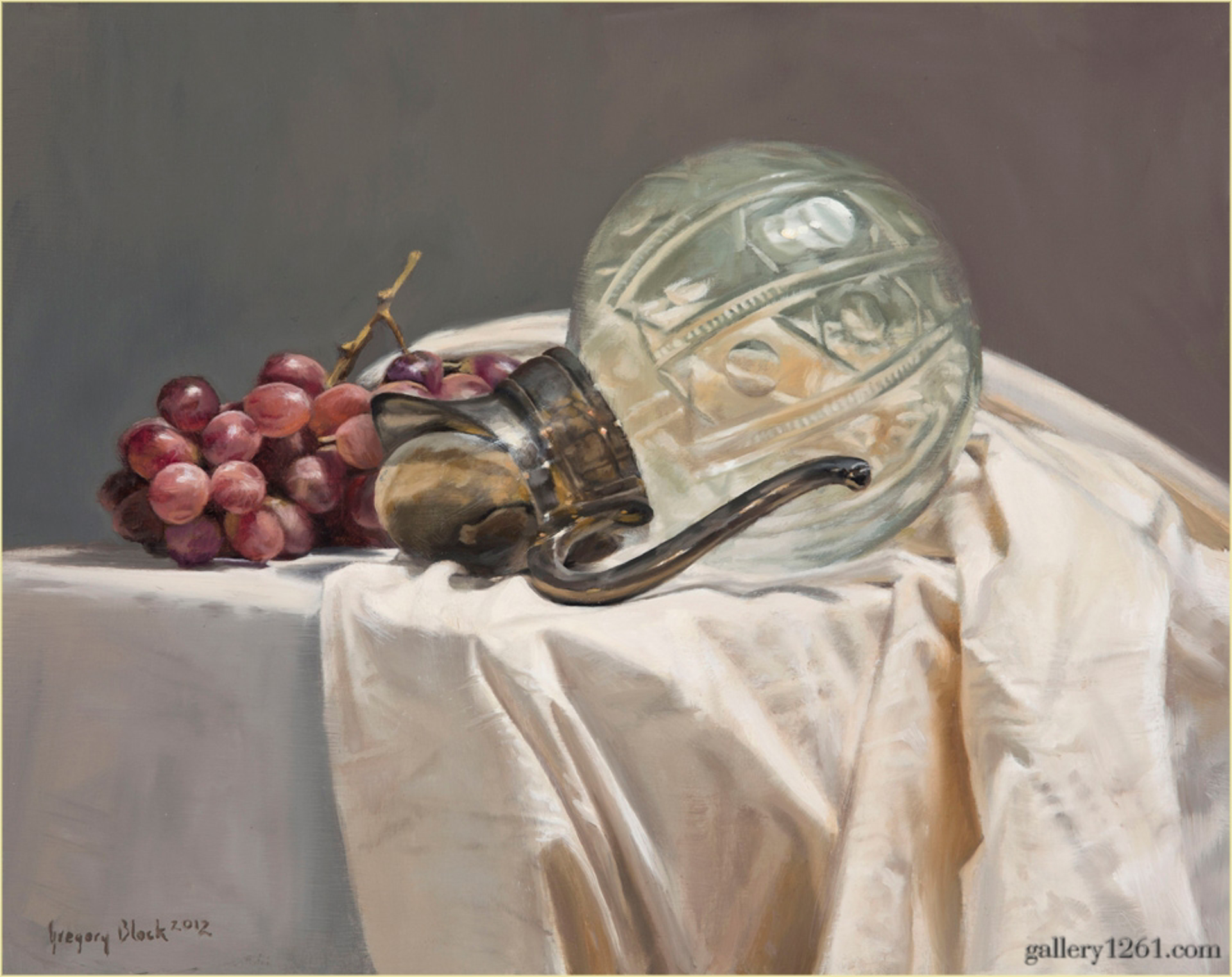Crystal Pitcher and Grapes by Gregory Block