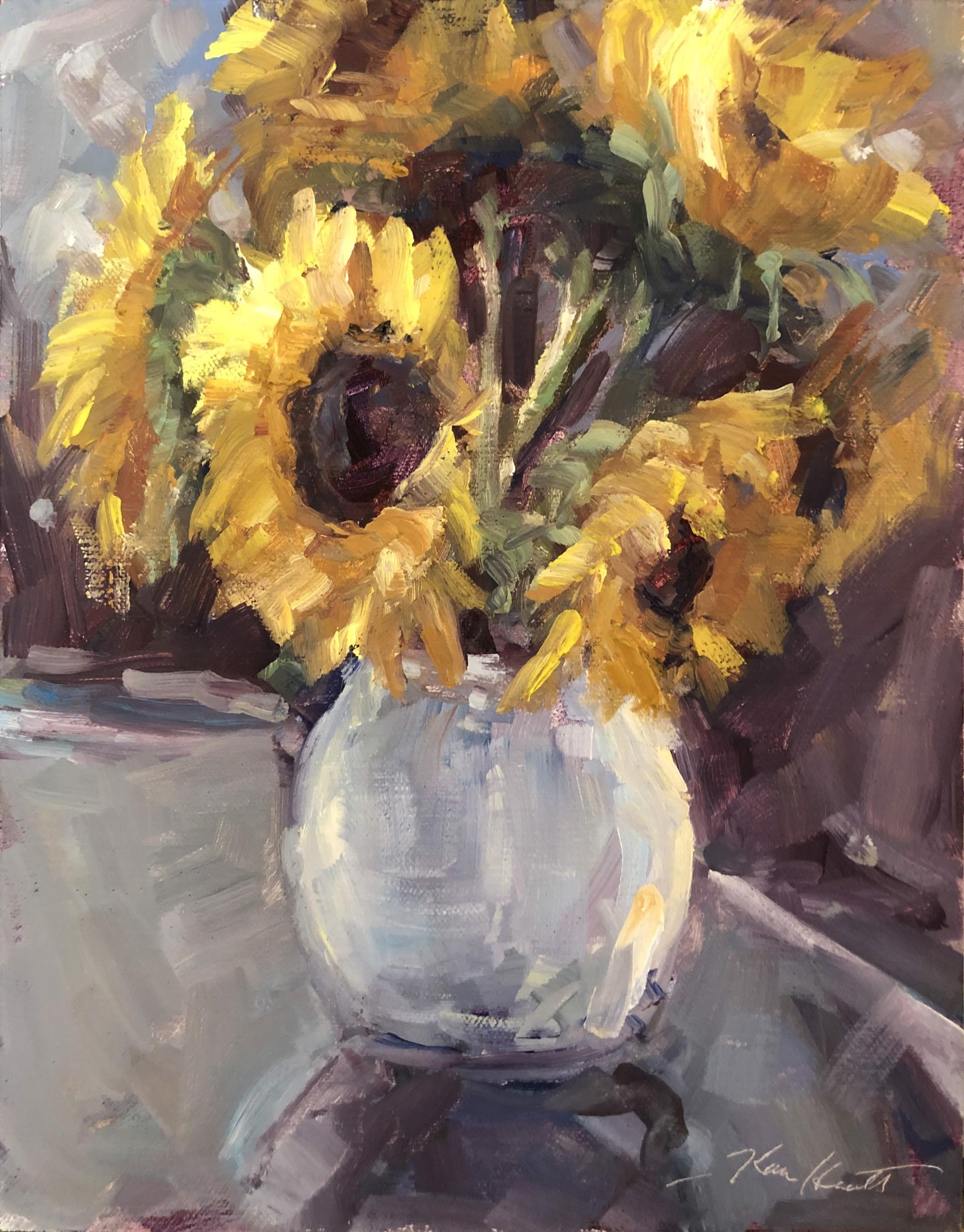 Sunflowers in White Vase by Karen Hewitt Hagan