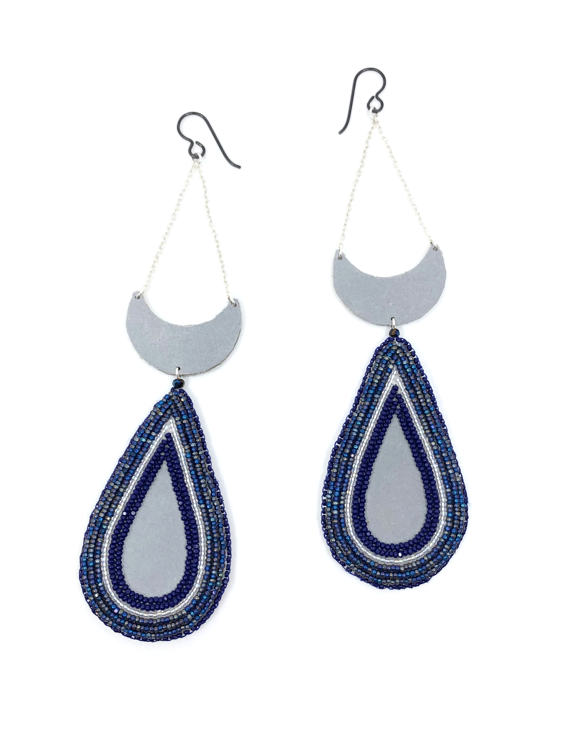 Crescent and Beaded Drop Earrings by Hollis Chitto